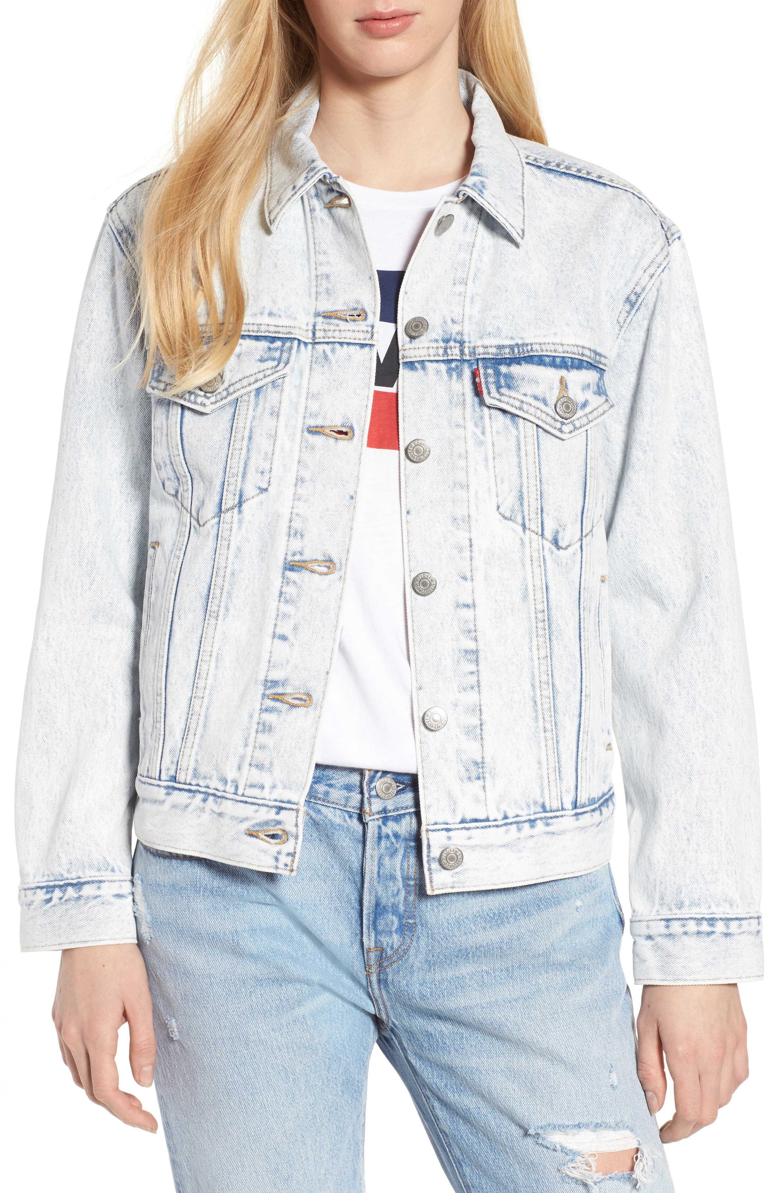 Ex-Boyfriend Denim Trucker Jacket,                             Main thumbnail 1, color,                             Static Sound
