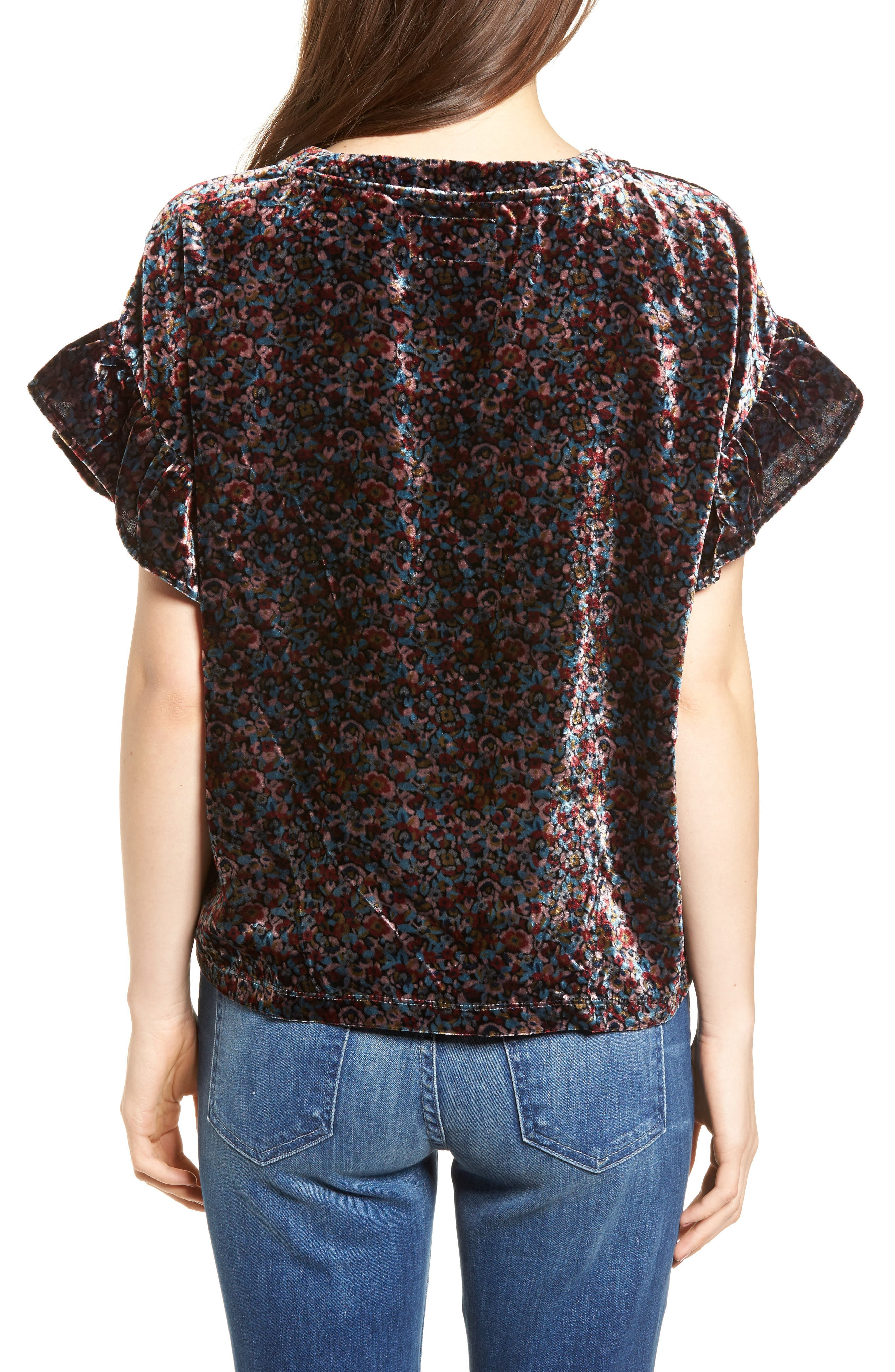 The Janie Velvet Top,                             Alternate thumbnail 2, color,                             Floral Velvet