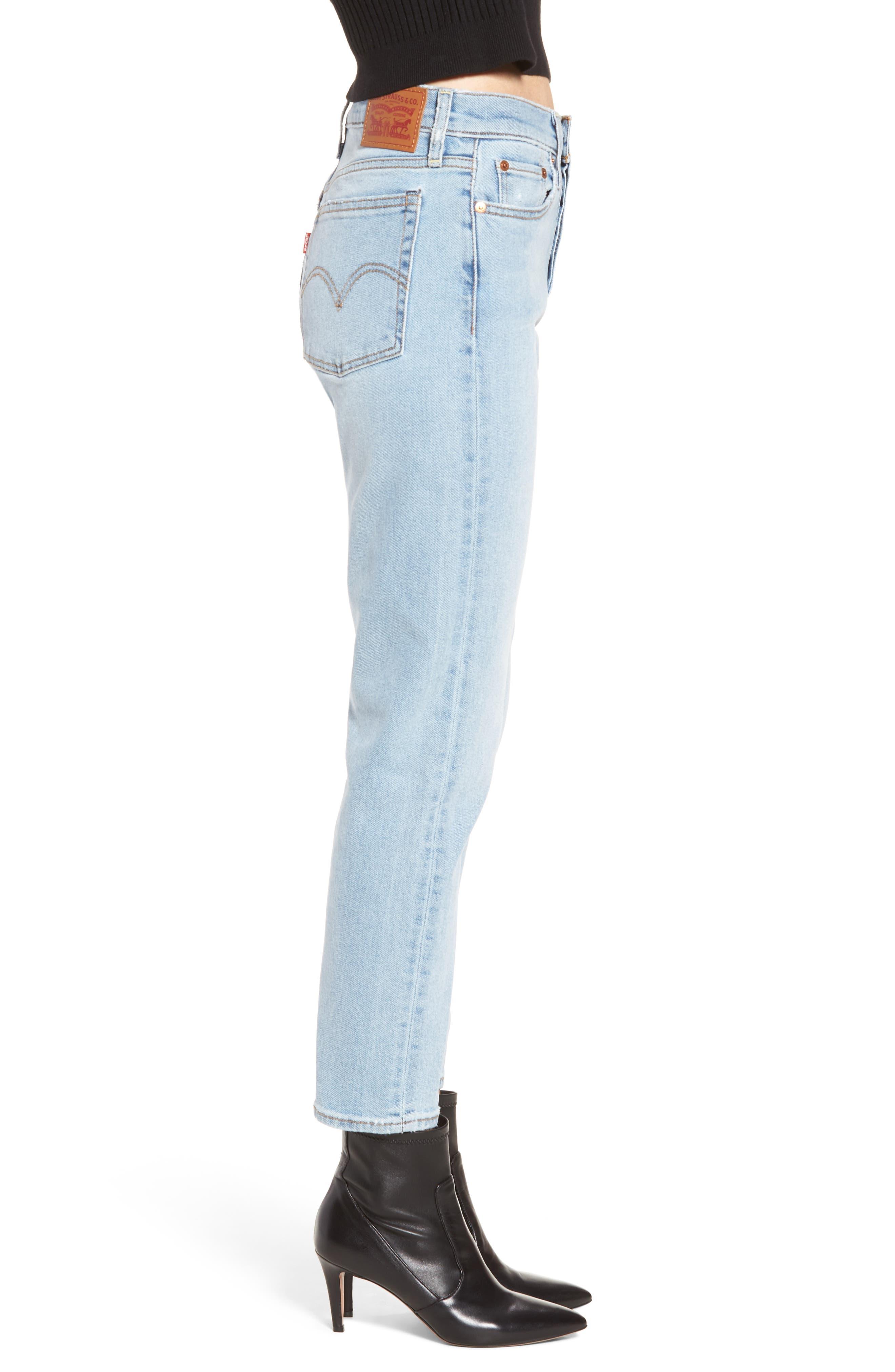 Wedgie Icon Fit High Waist Crop Jeans,                             Alternate thumbnail 3, color,                             Bauhaus Blues