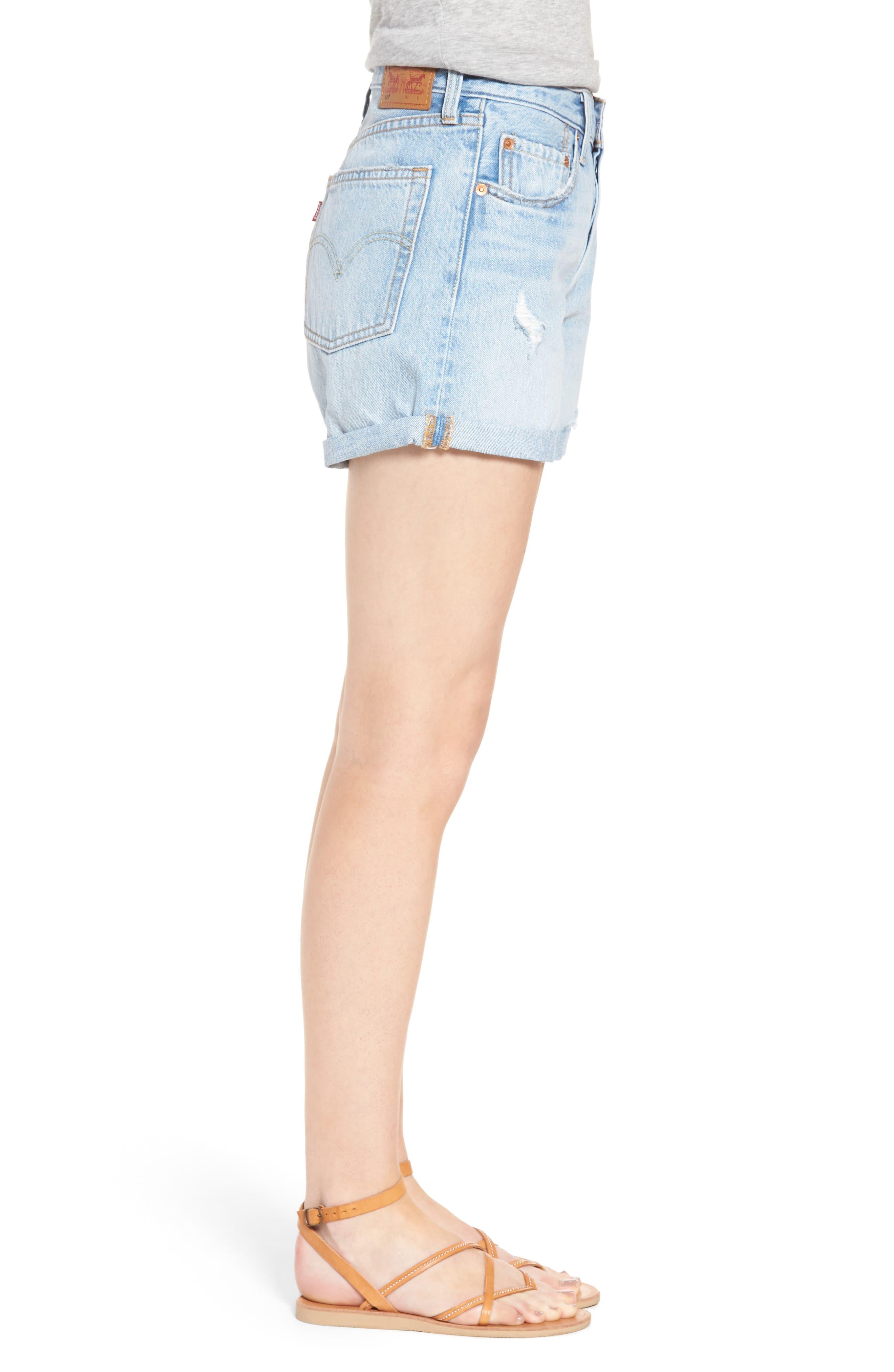 501<sup>®</sup> Cuffed Long Denim Shorts,                             Alternate thumbnail 3, color,                             North Beach Blues