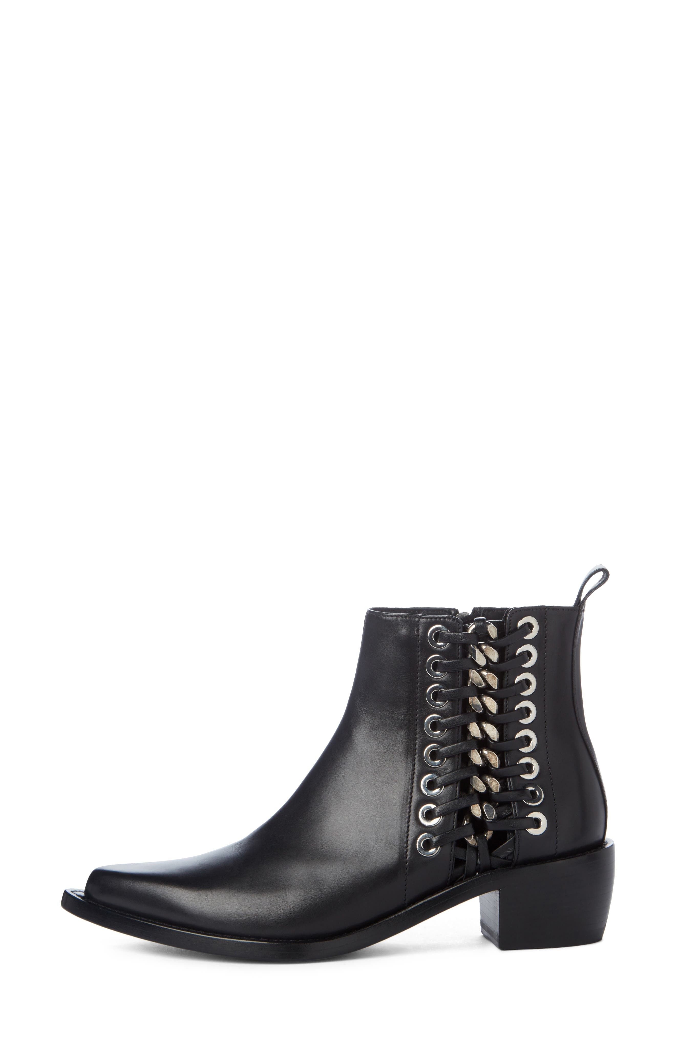 Braided Chain Boot,                             Alternate thumbnail 3, color,                             Black/ Silver