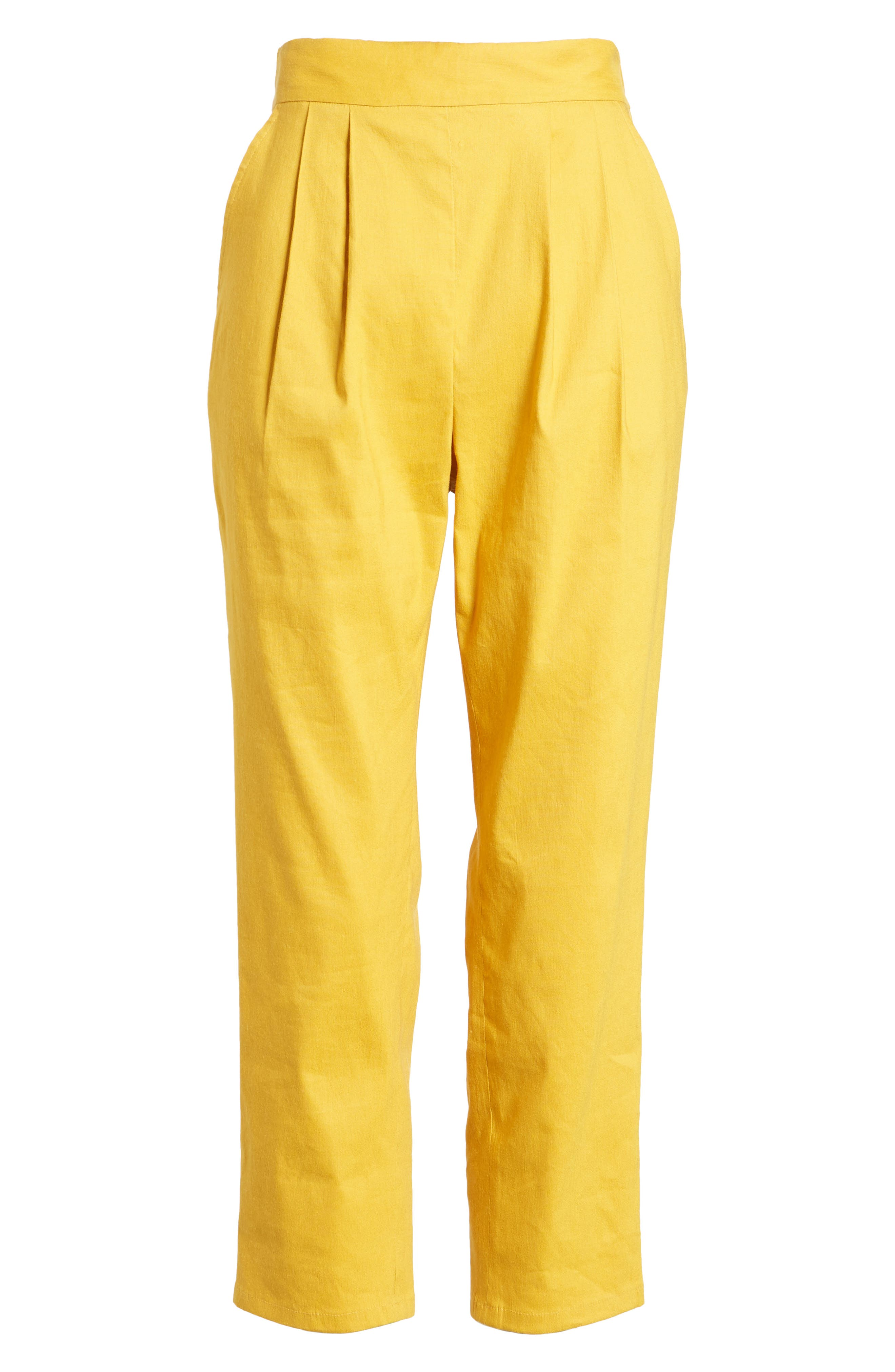 Pleat Front Crop Pants,                             Alternate thumbnail 7, color,                             Yellow Mineral