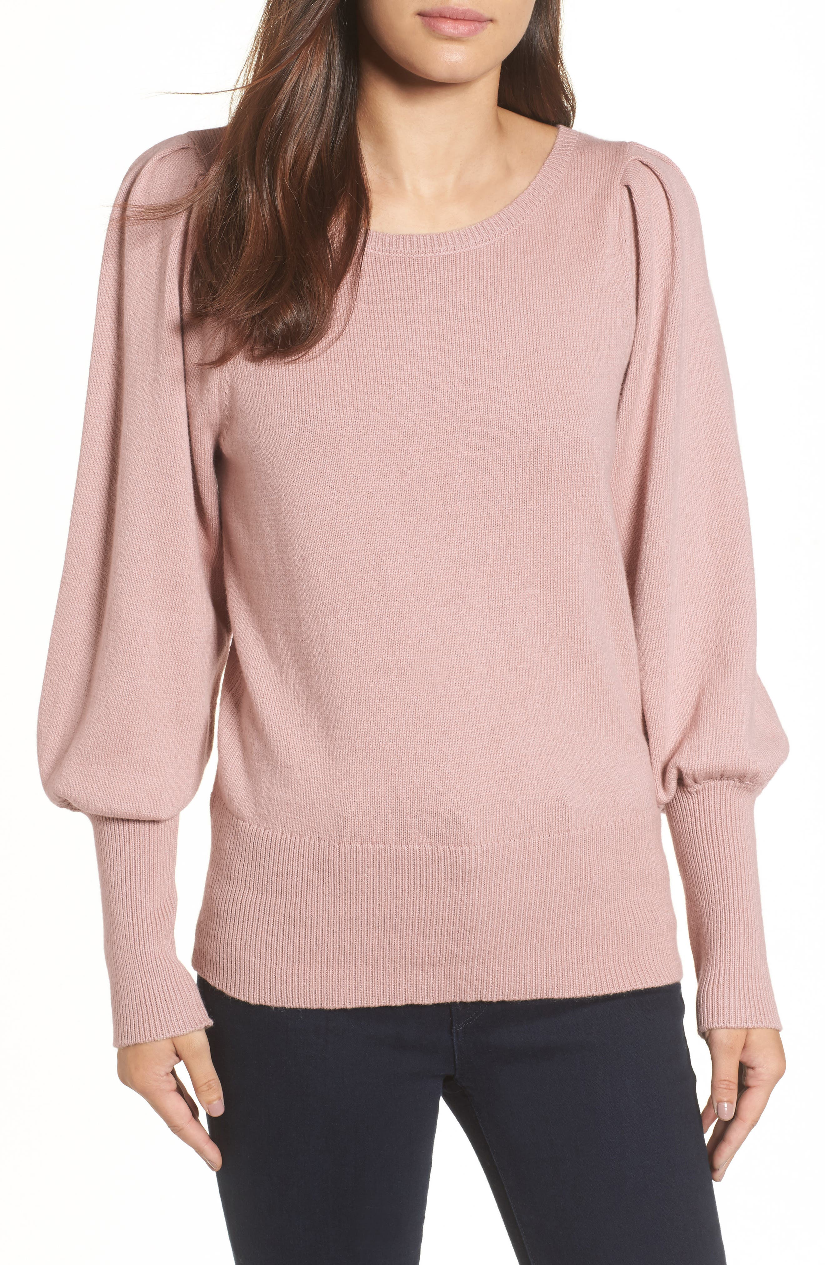 Bateau Neck Blouson Sleeve Sweater,                         Main,                         color, Pink Adobe