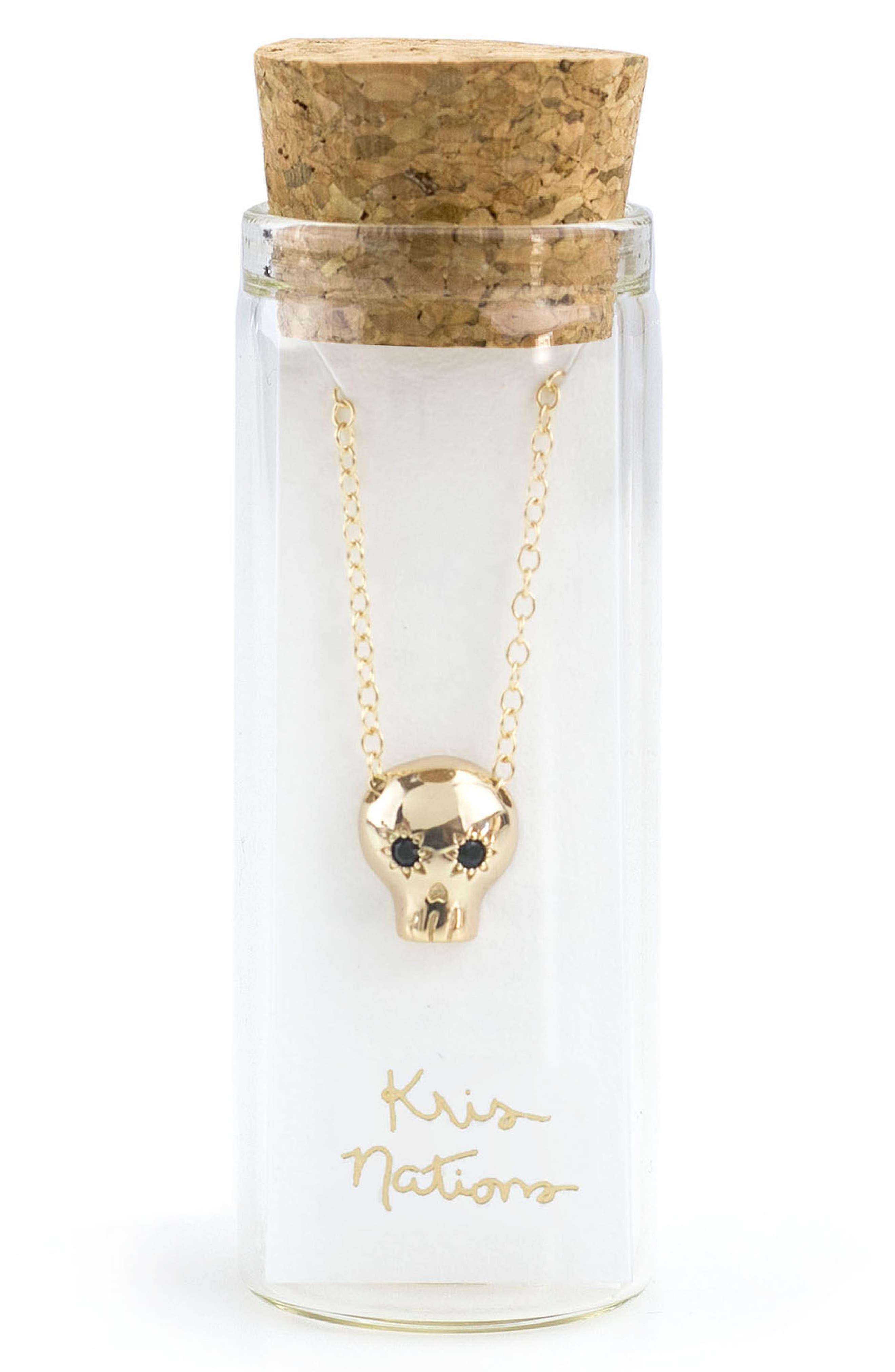 Alternate Image 2  - Kris Nations Onyx Skull Charm Necklace