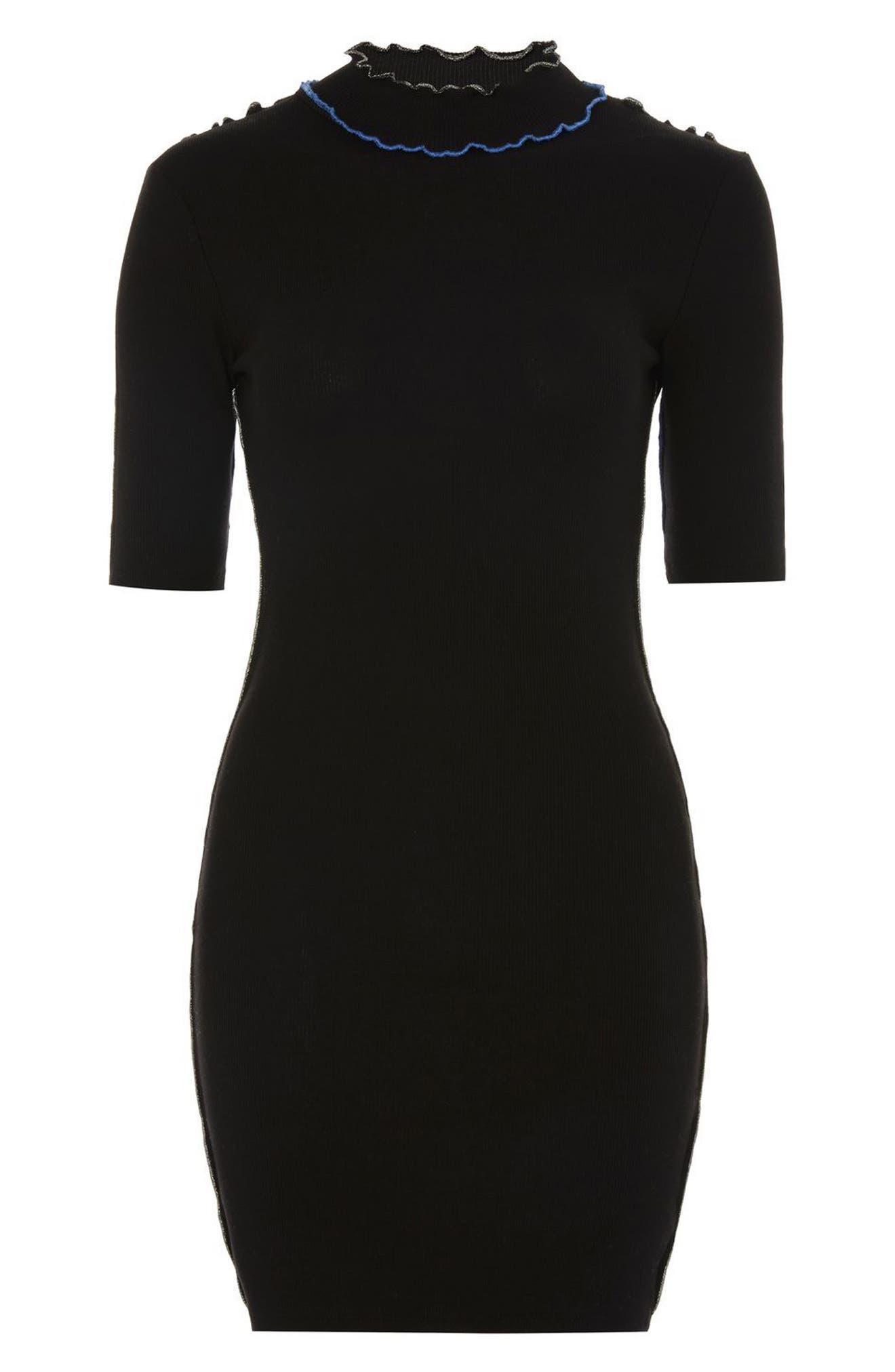 Alternate Image 4  - Topshop Contrast Lettuce Trim Body-Con Dress