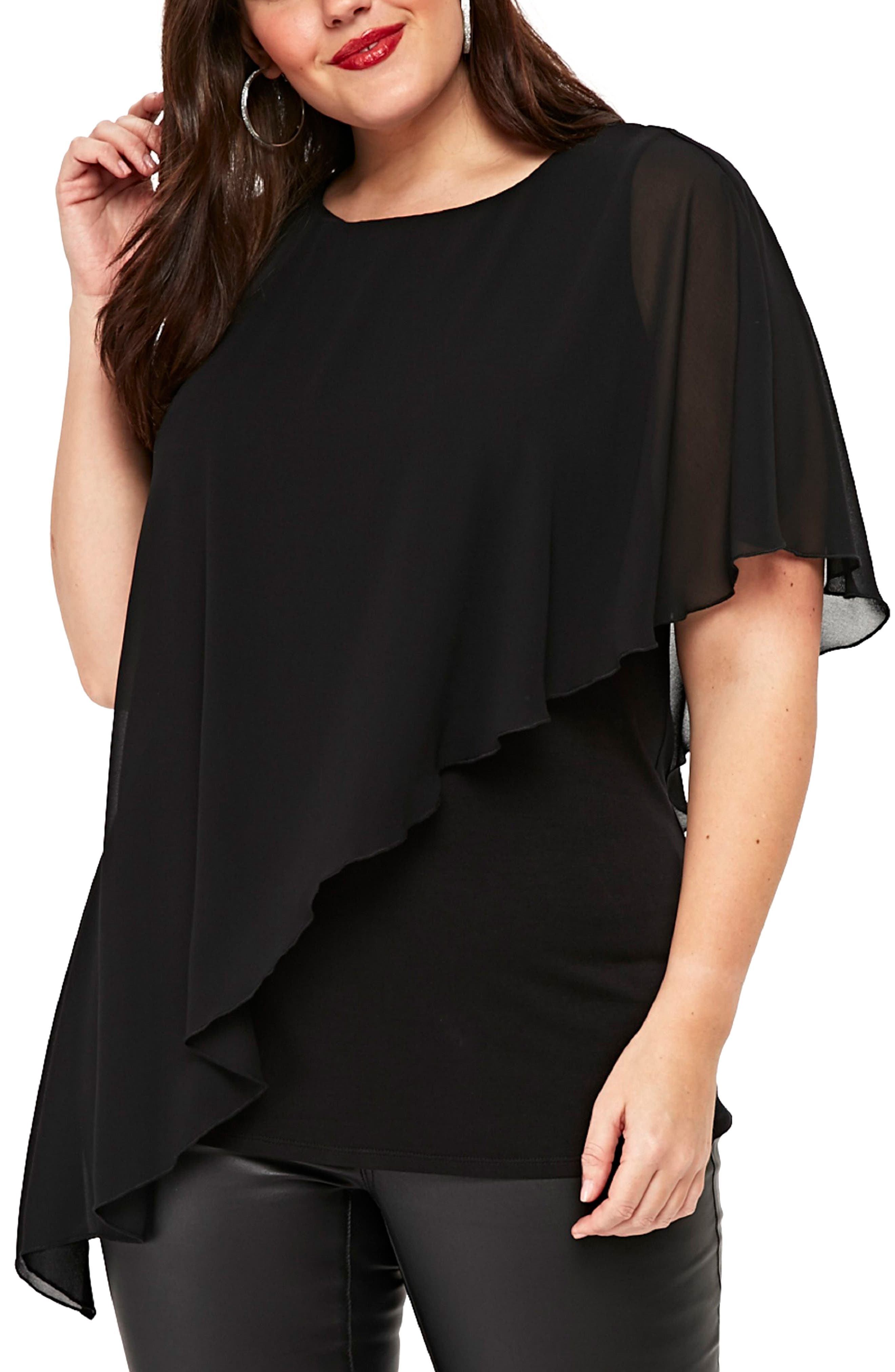 Main Image - Evans Ruffle Overlay Asymmetrical Top (Plus Size)