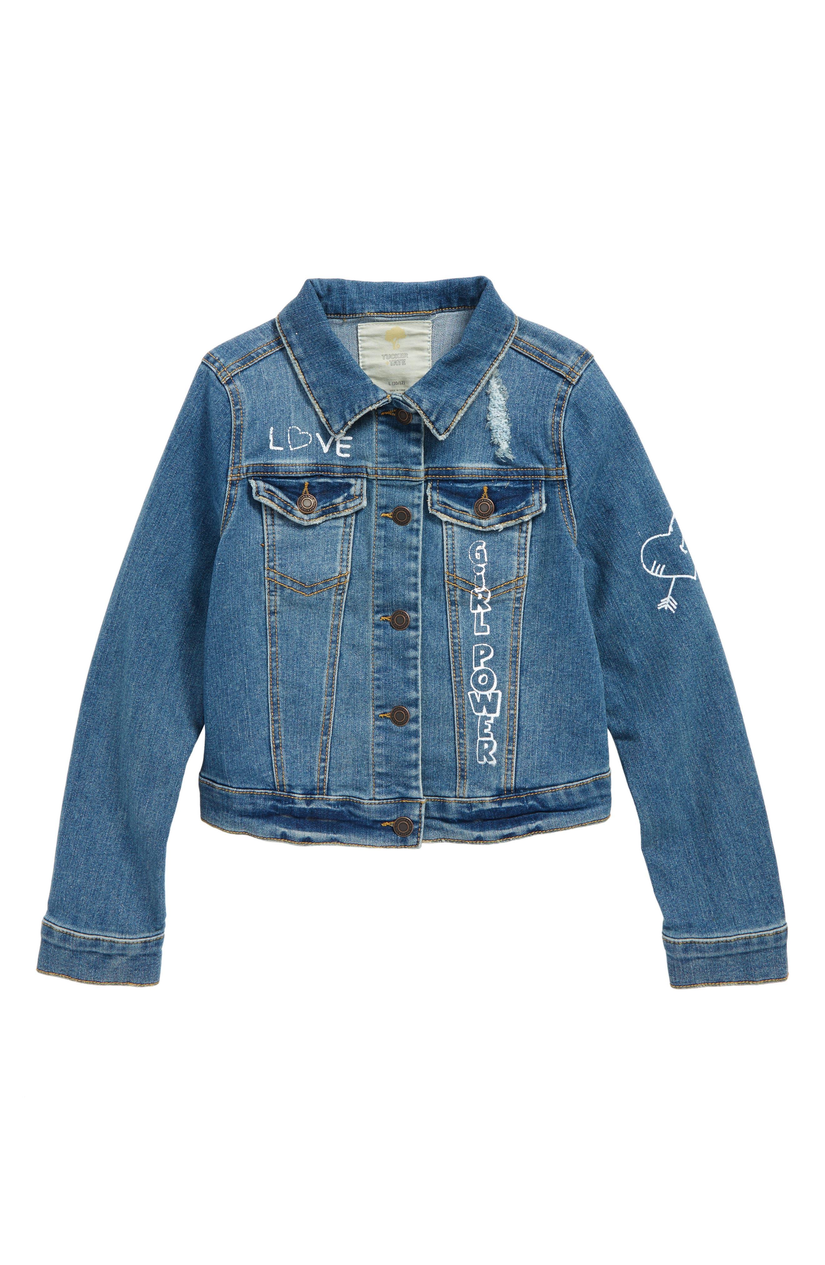Conversational Denim Jacket,                         Main,                         color, Hempstead Wash