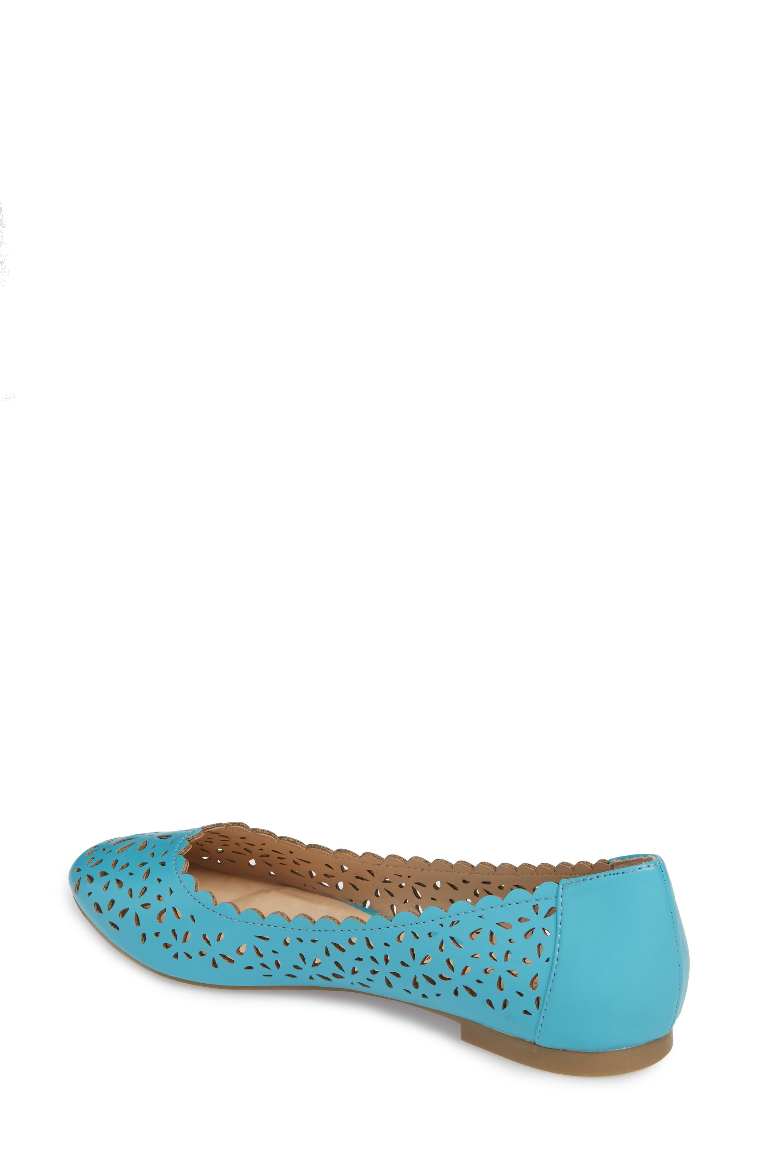 Annora Perforated Flat,                             Alternate thumbnail 2, color,                             Teal Fabric