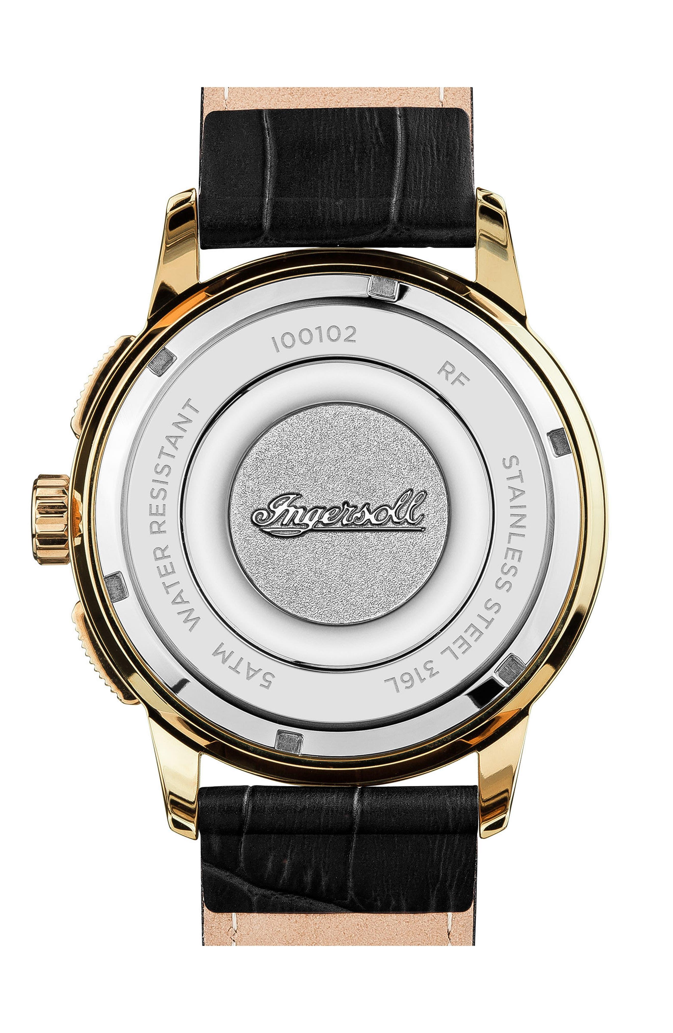 Alternate Image 2  - Ingersoll Regent Chronograph Leather Strap Watch, 47mm