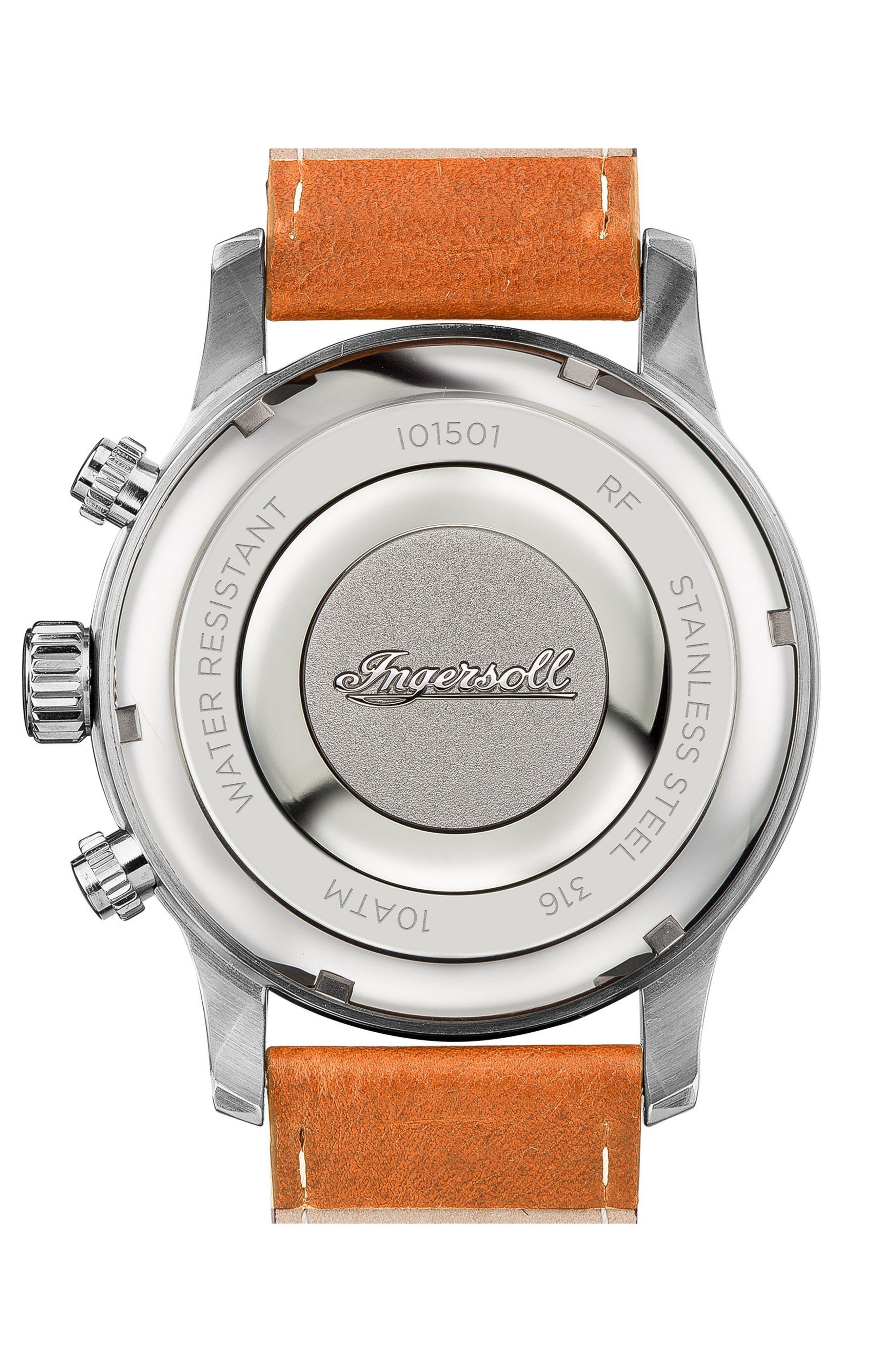 Alternate Image 2  - Ingersoll Hatton Chronograph Leather Strap Watch, 46mm