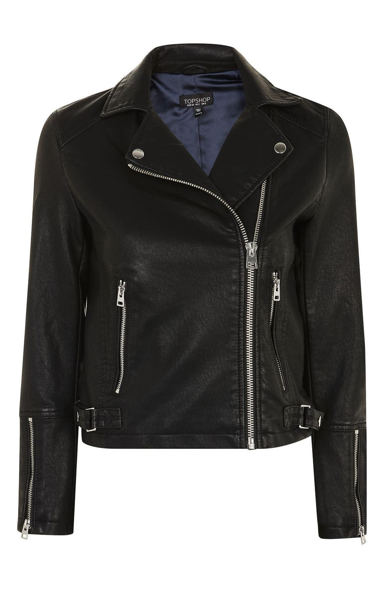 Daze Faux Leather Biker Jacket,                             Alternate thumbnail 3, color,                             Black