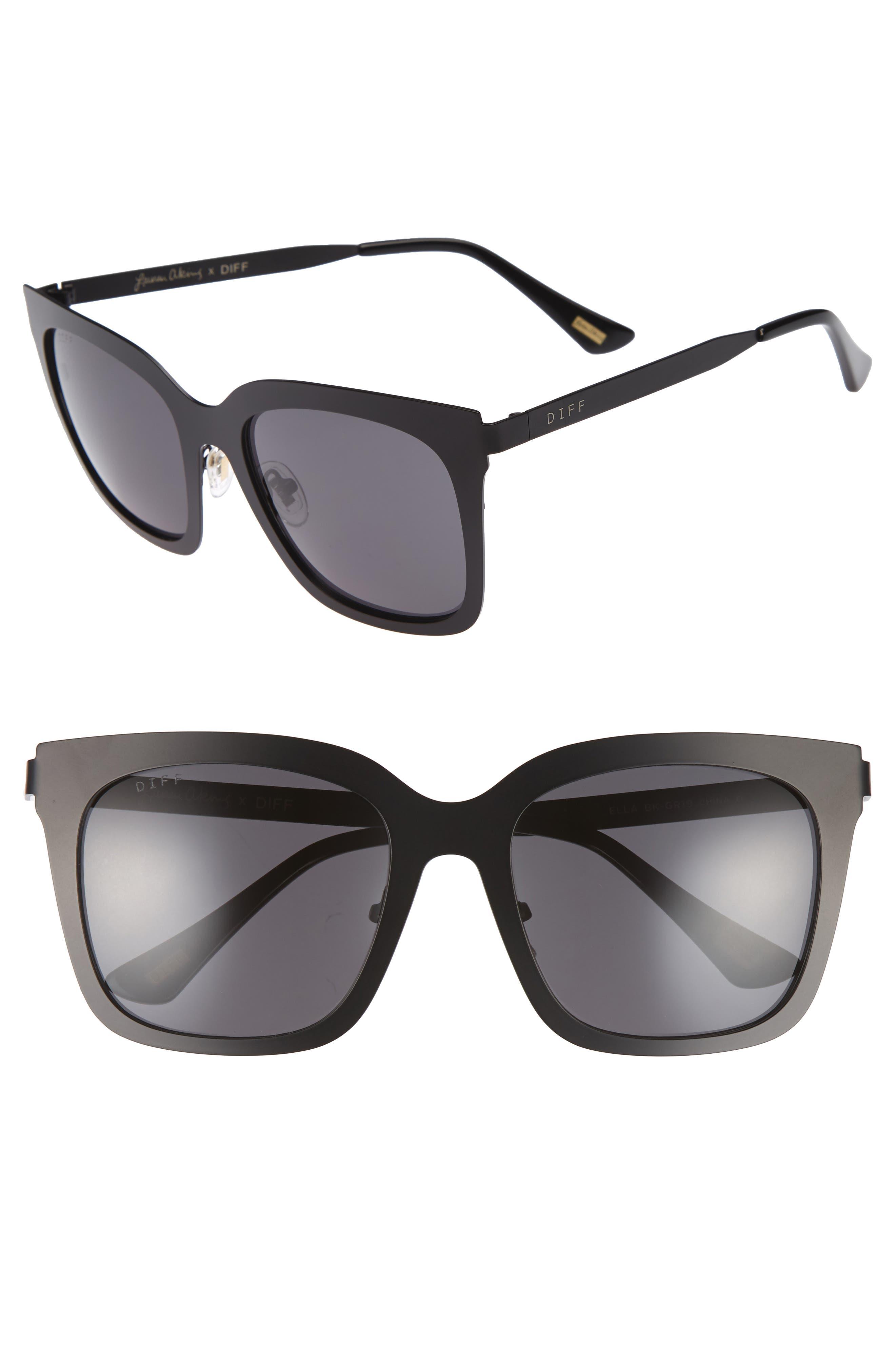 x Lauren Akins Ella 53mm Cat Eye Sunglasses,                         Main,                         color, Black/ Grey
