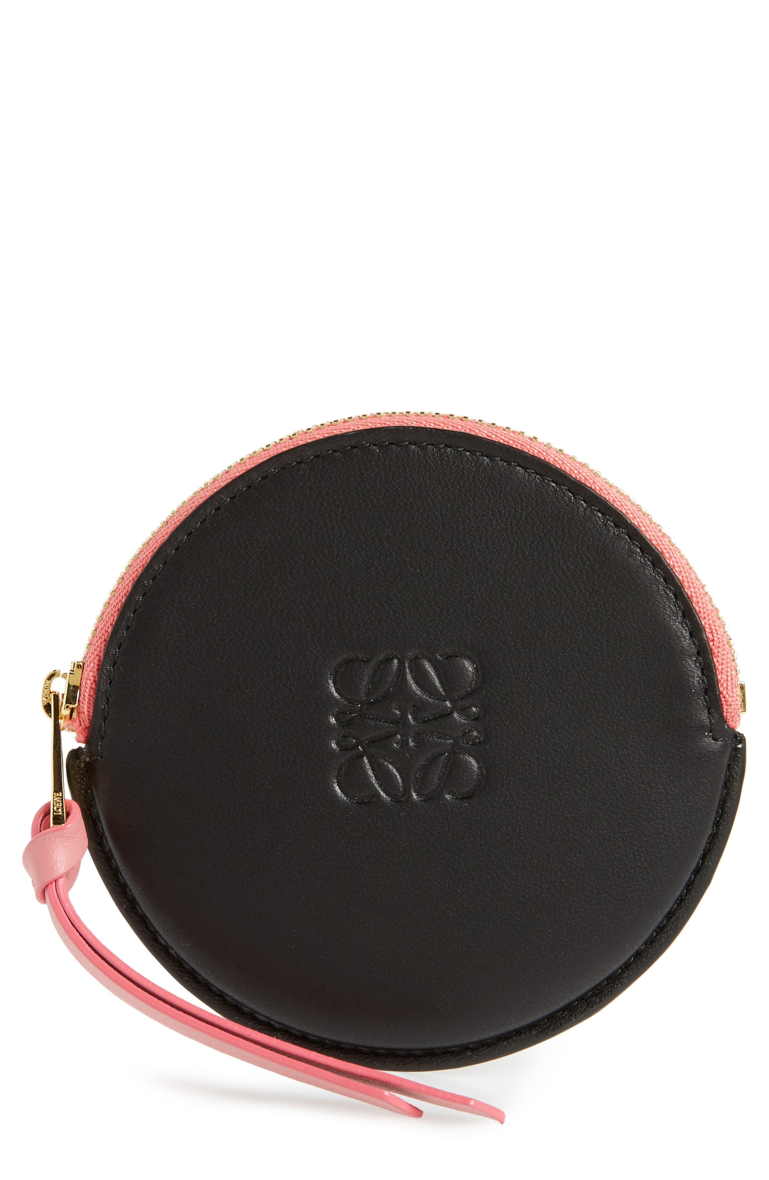 Cookie Round Leather Zip Pouch,                         Main,                         color, Black