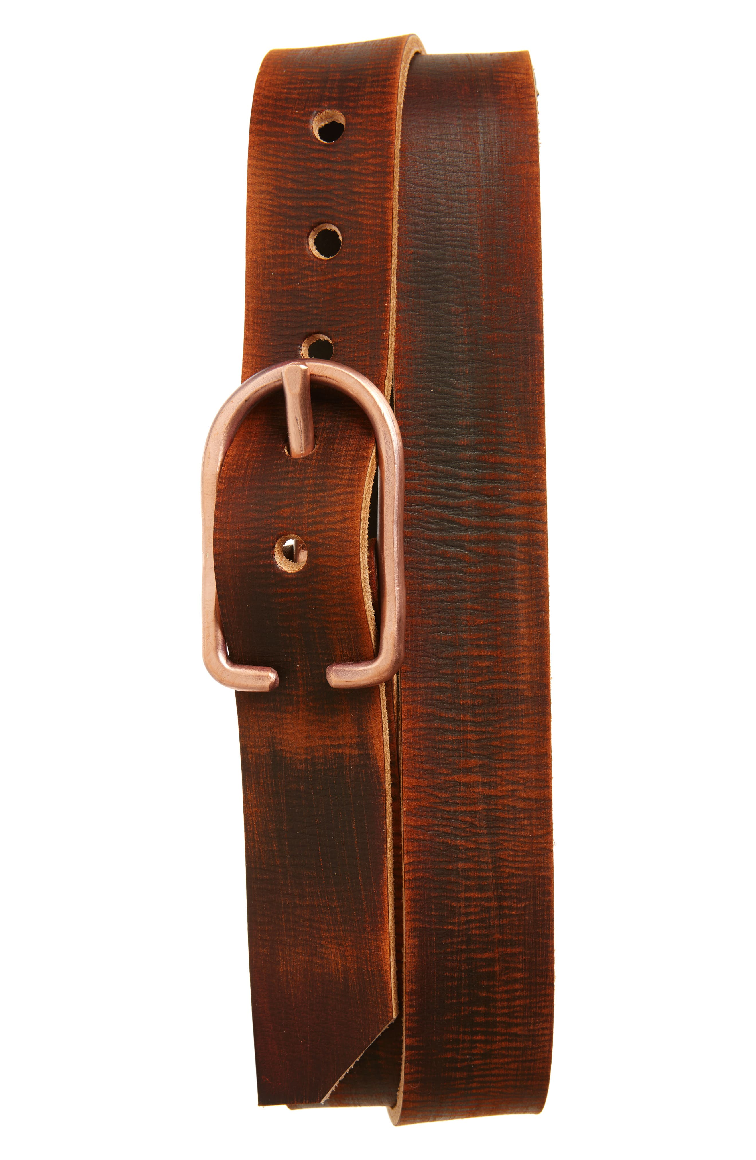 Cause & Effect Distressed Leather Belt,                             Main thumbnail 1, color,                             Brown