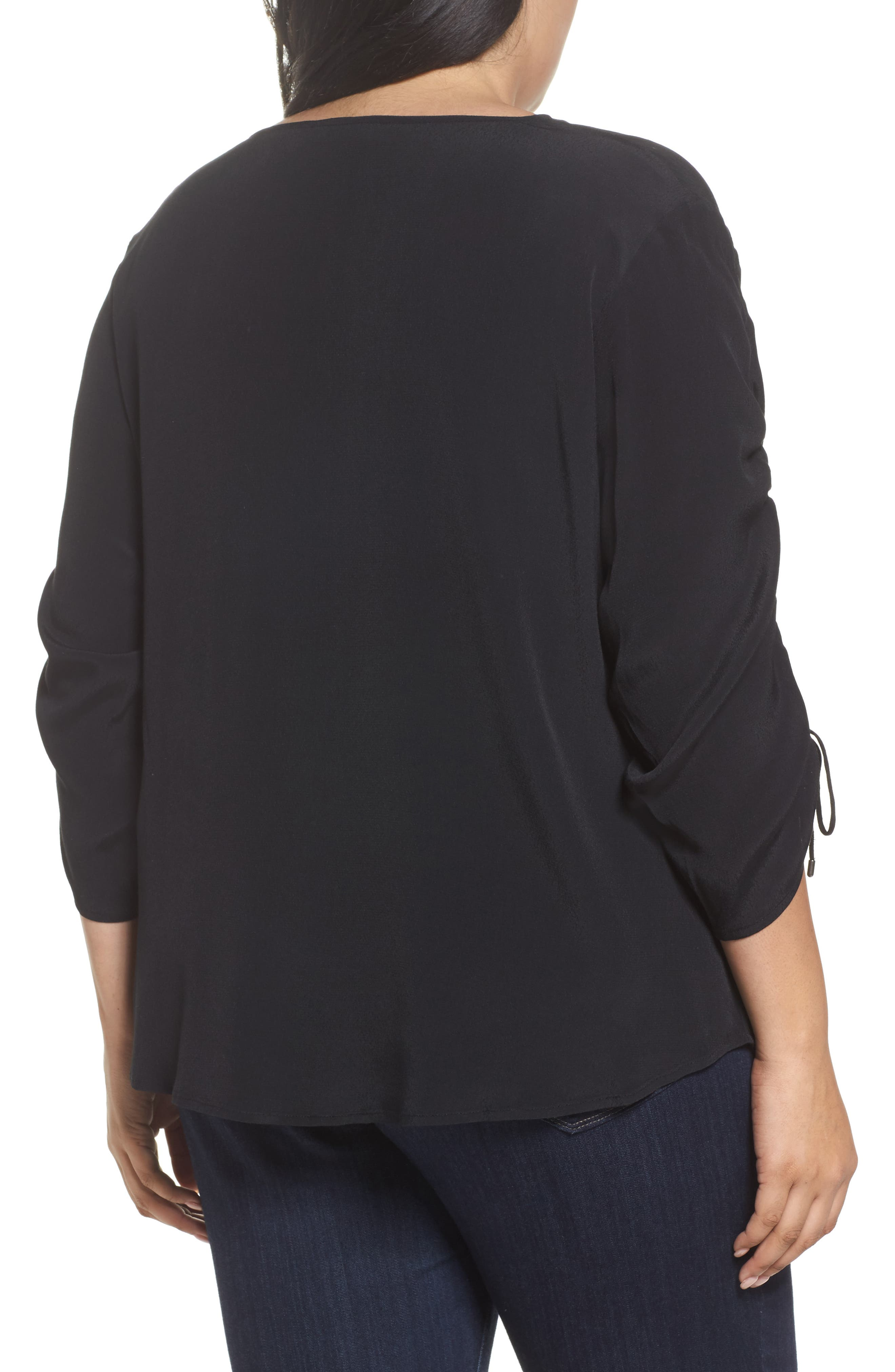 Cinched Sleeve Top,                             Alternate thumbnail 2, color,                             Black