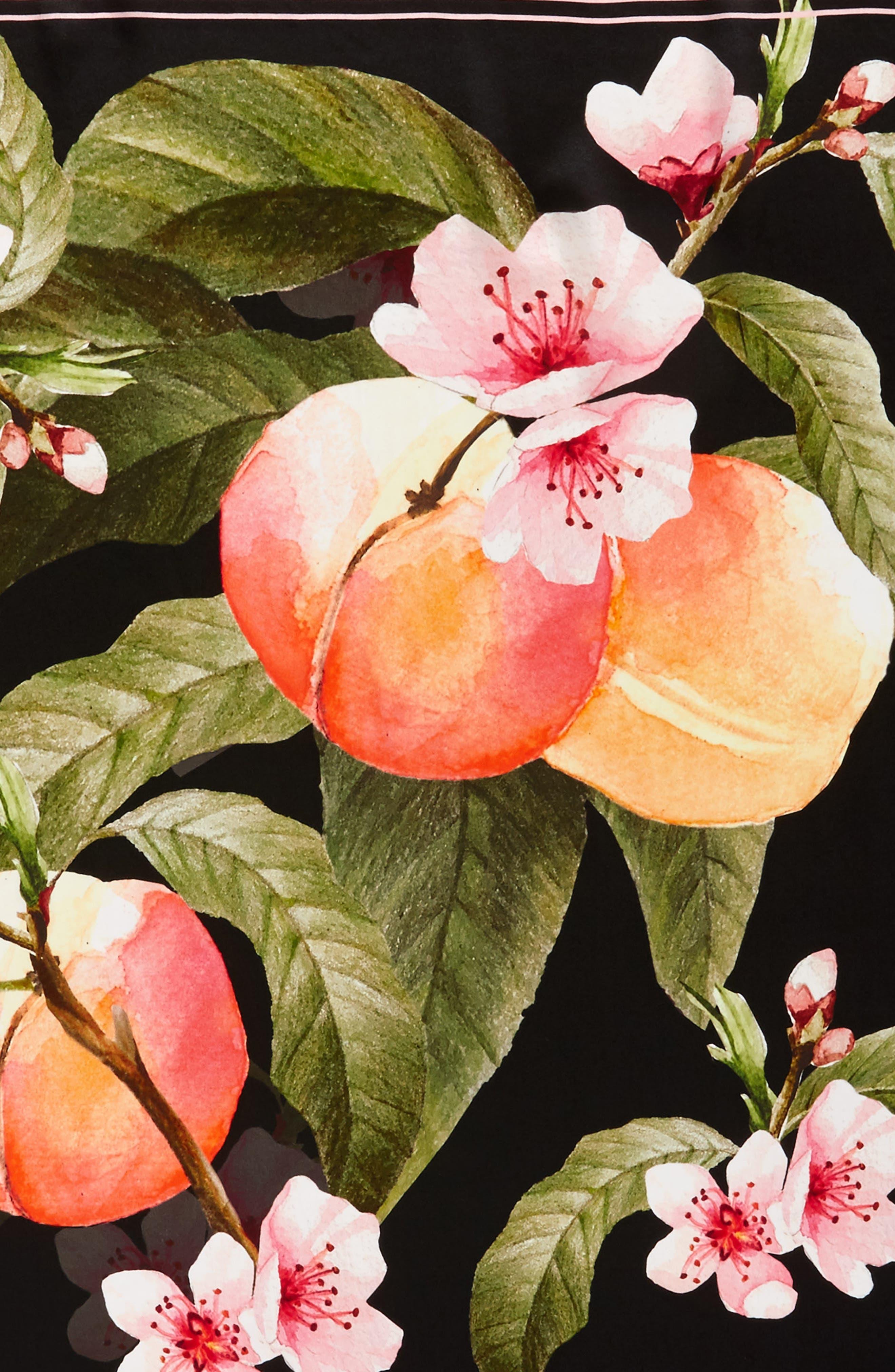 Peach Blossom Square Silk Scarf,                             Alternate thumbnail 4, color,                             00-Black
