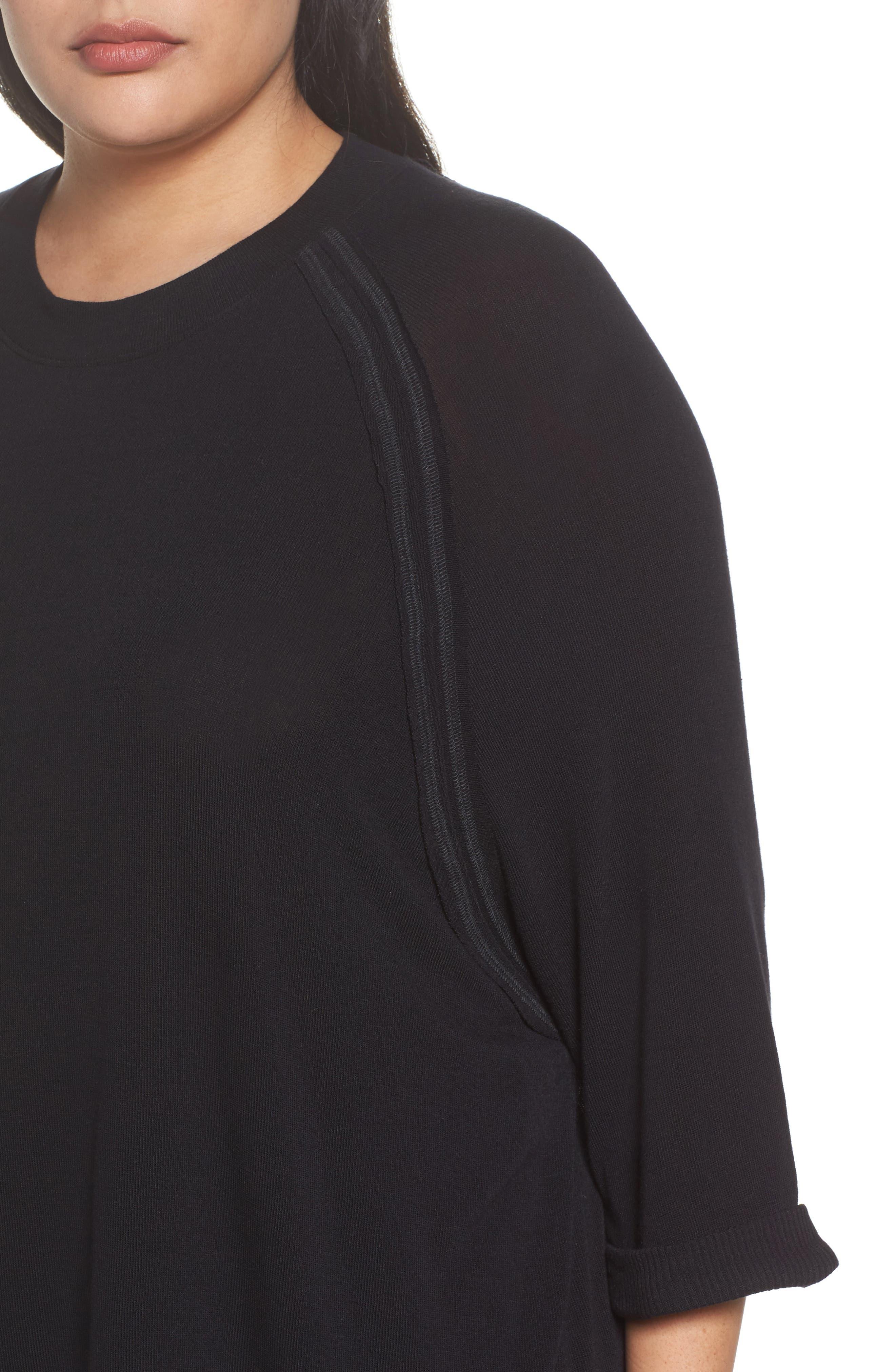 Stitch Detail Pullover,                             Alternate thumbnail 4, color,                             Black