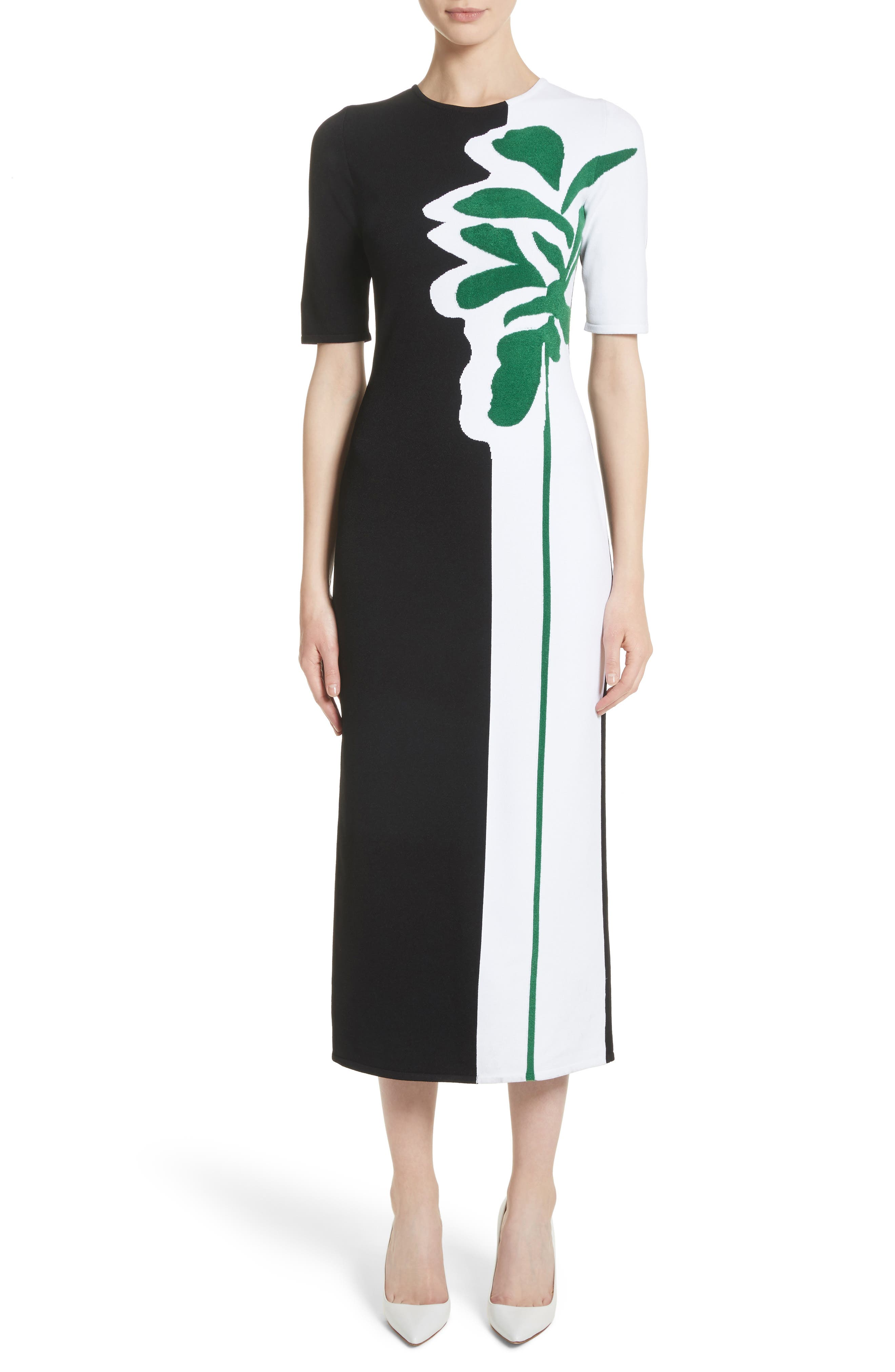 Intarsia Leaf Print Dress,                         Main,                         color, White/ Black/ Evergreen
