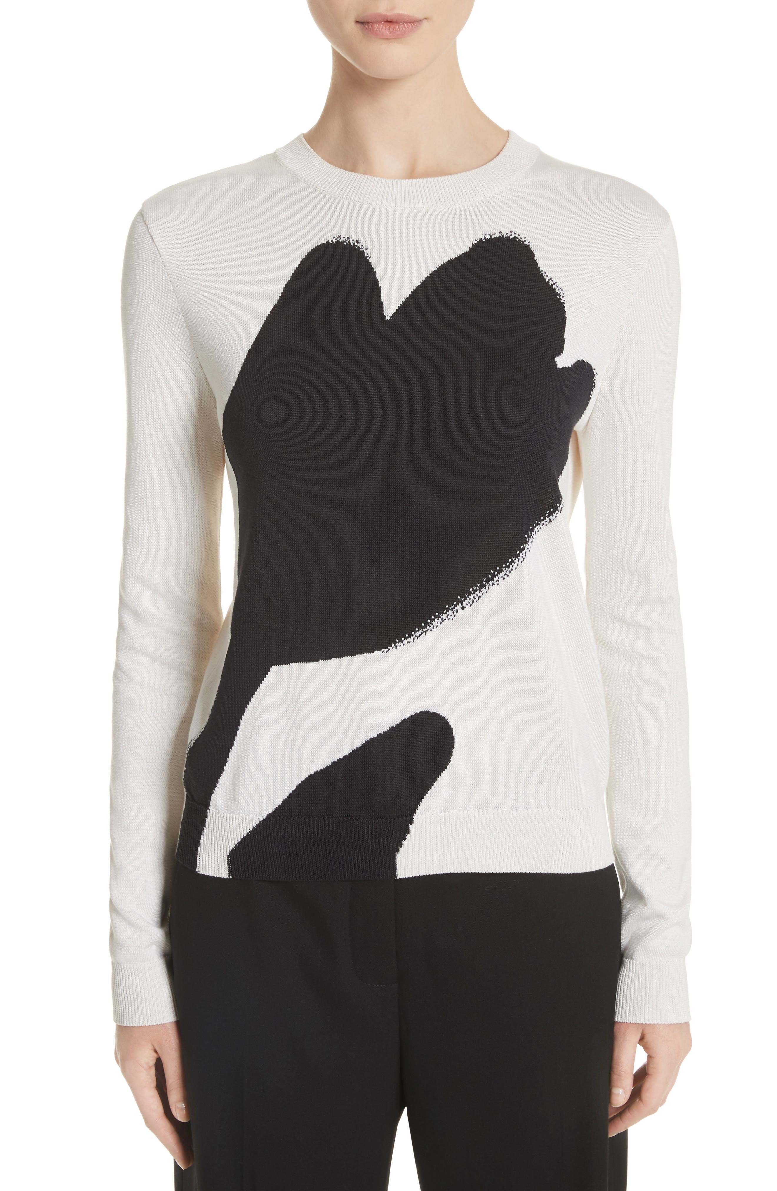 Oscar de la Renta Tulip Intarsia Knit Silk & Cotton Sweater