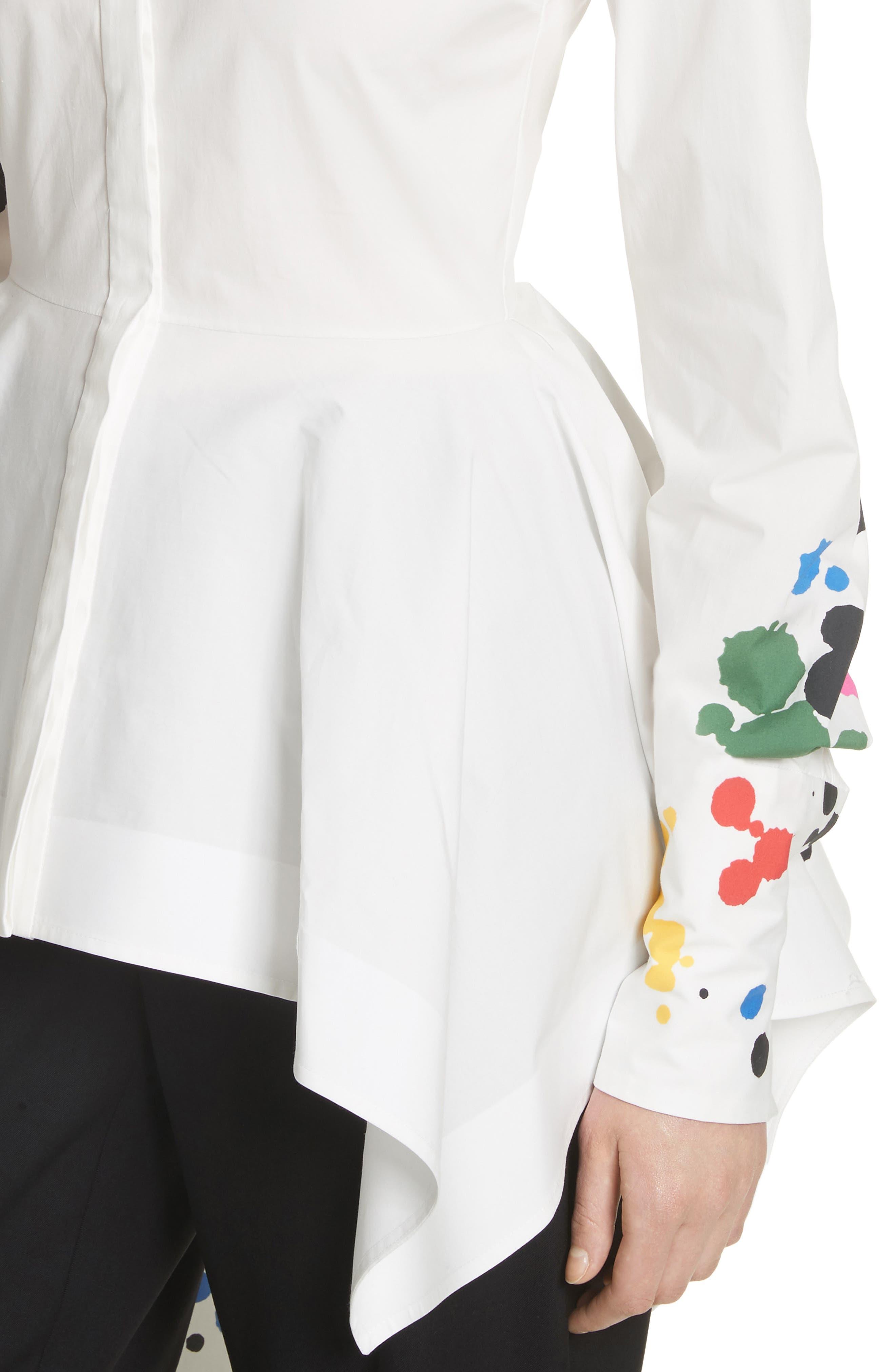 Paint Splatter Asymmetrical Poplin Shirt,                             Alternate thumbnail 4, color,                             White Multi