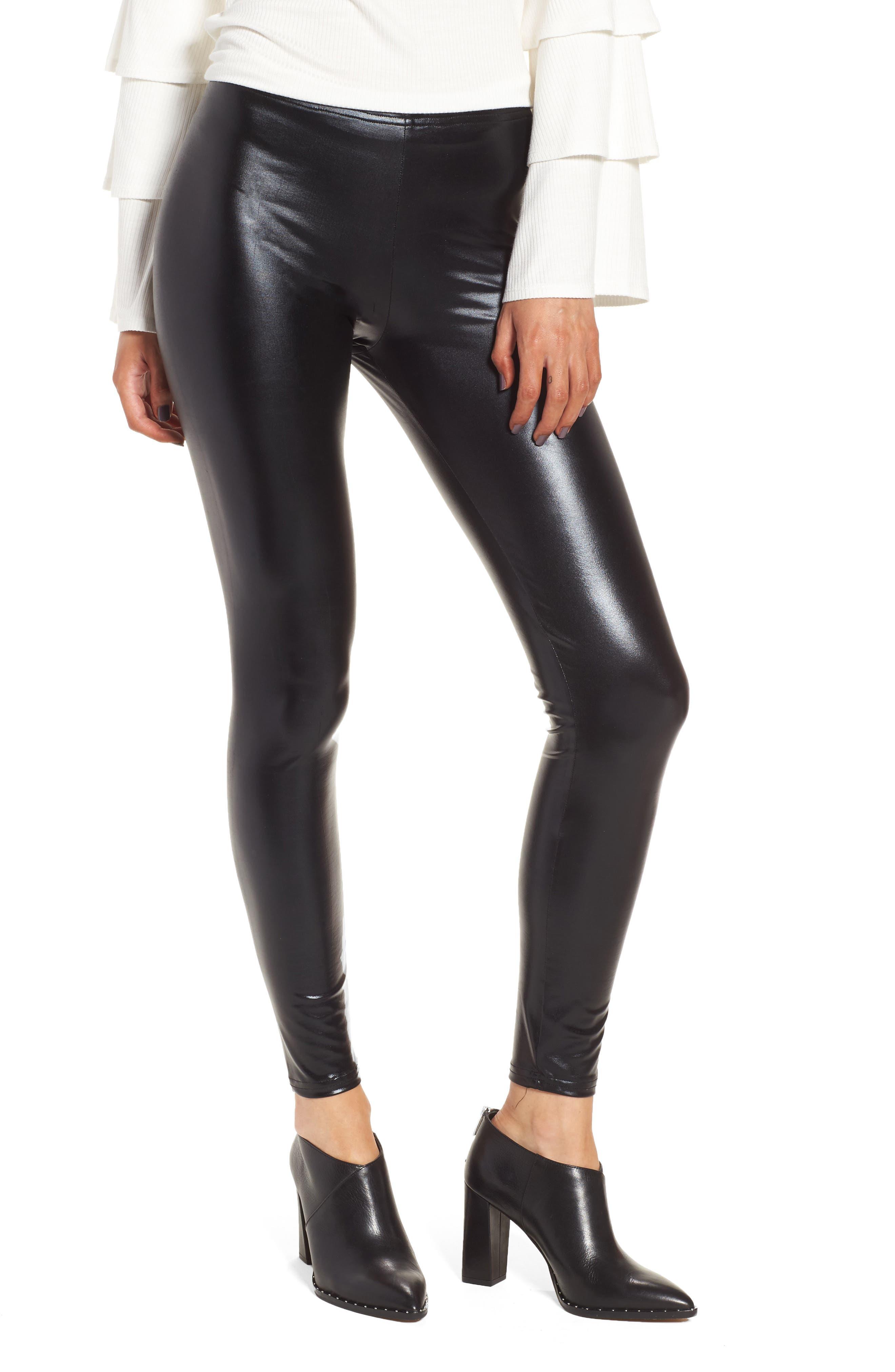 Glossy Leggings,                         Main,                         color, Black