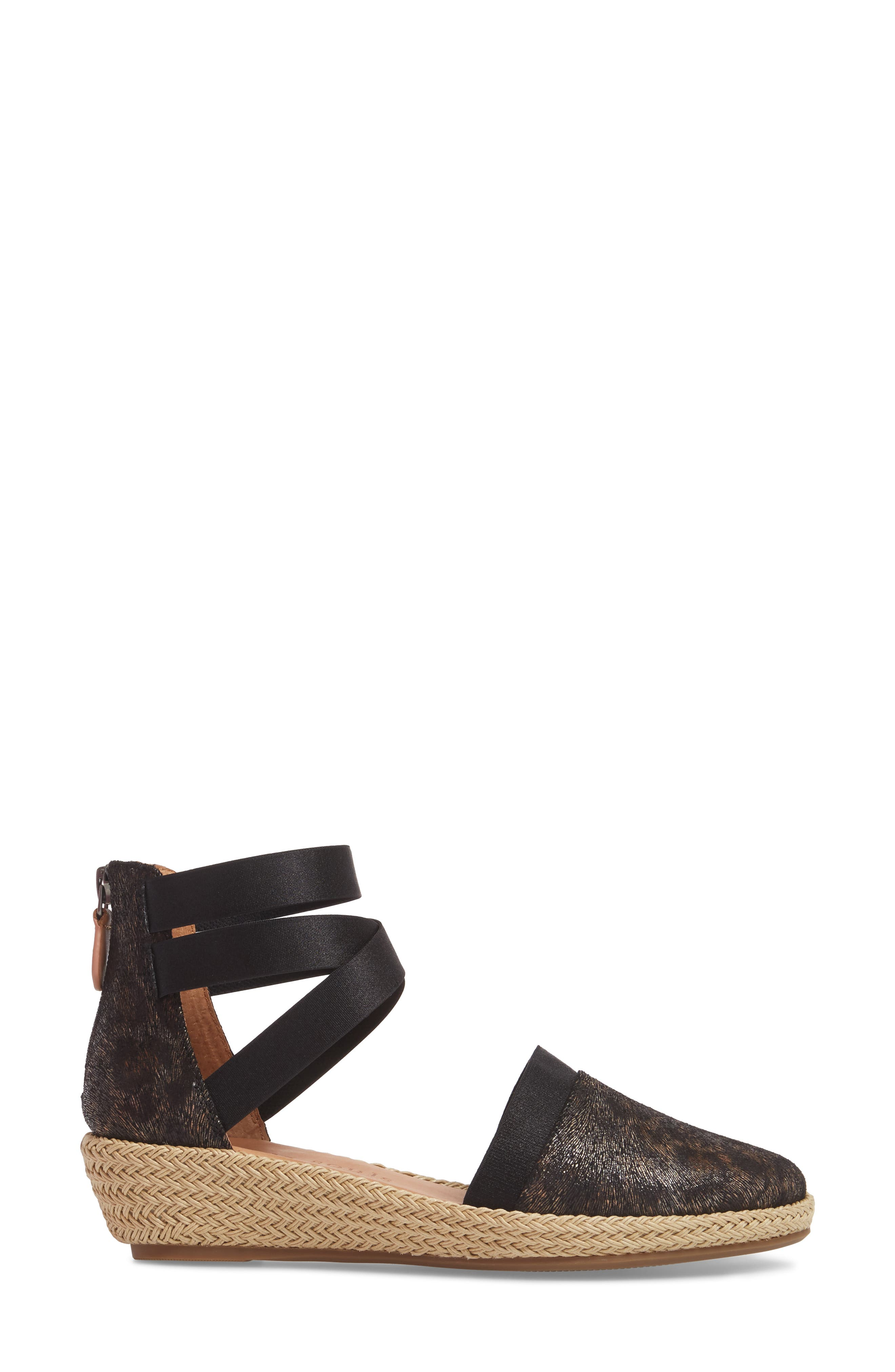 by Kenneth Cole Beth Espadrille Sandal,                             Alternate thumbnail 3, color,                             Black Leopard Printed Leather