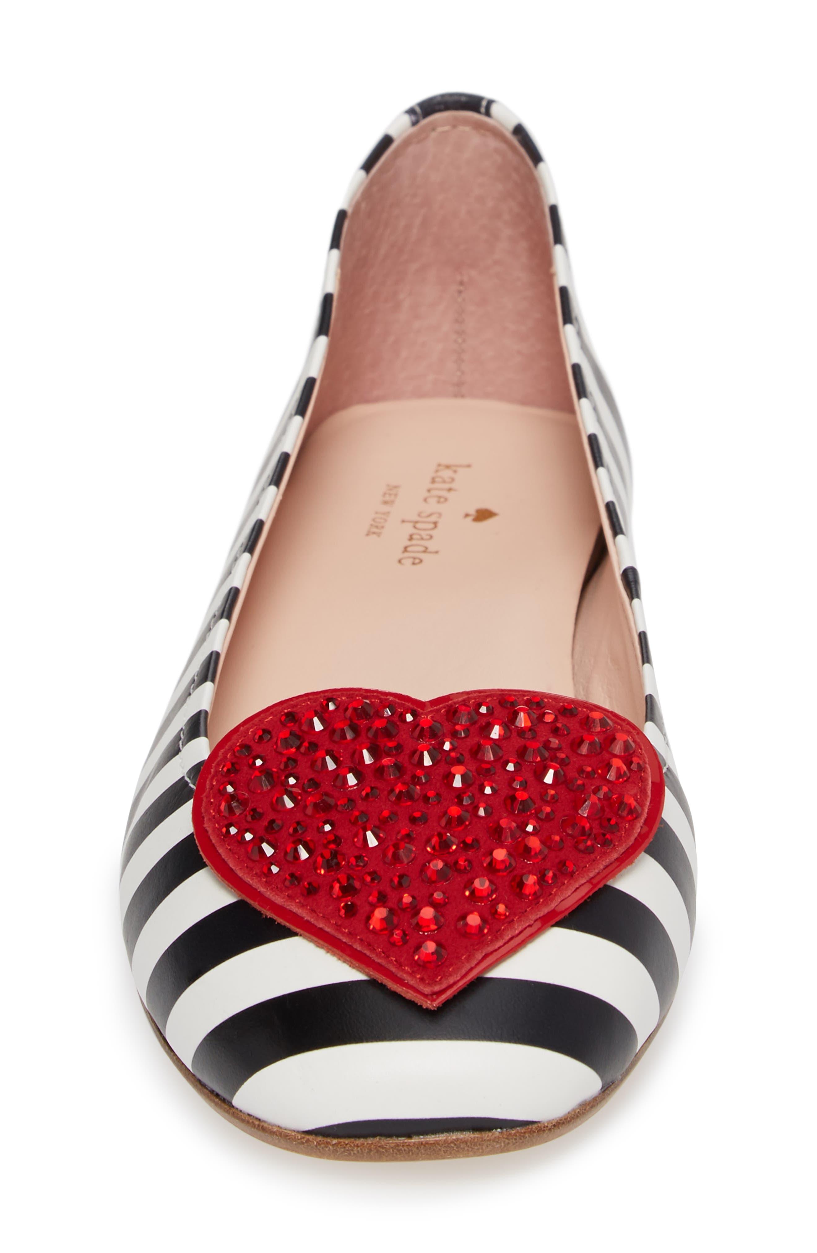 kade crystal embellished heart ballet flat,                             Alternate thumbnail 4, color,                             Black/ White Striped Nappa