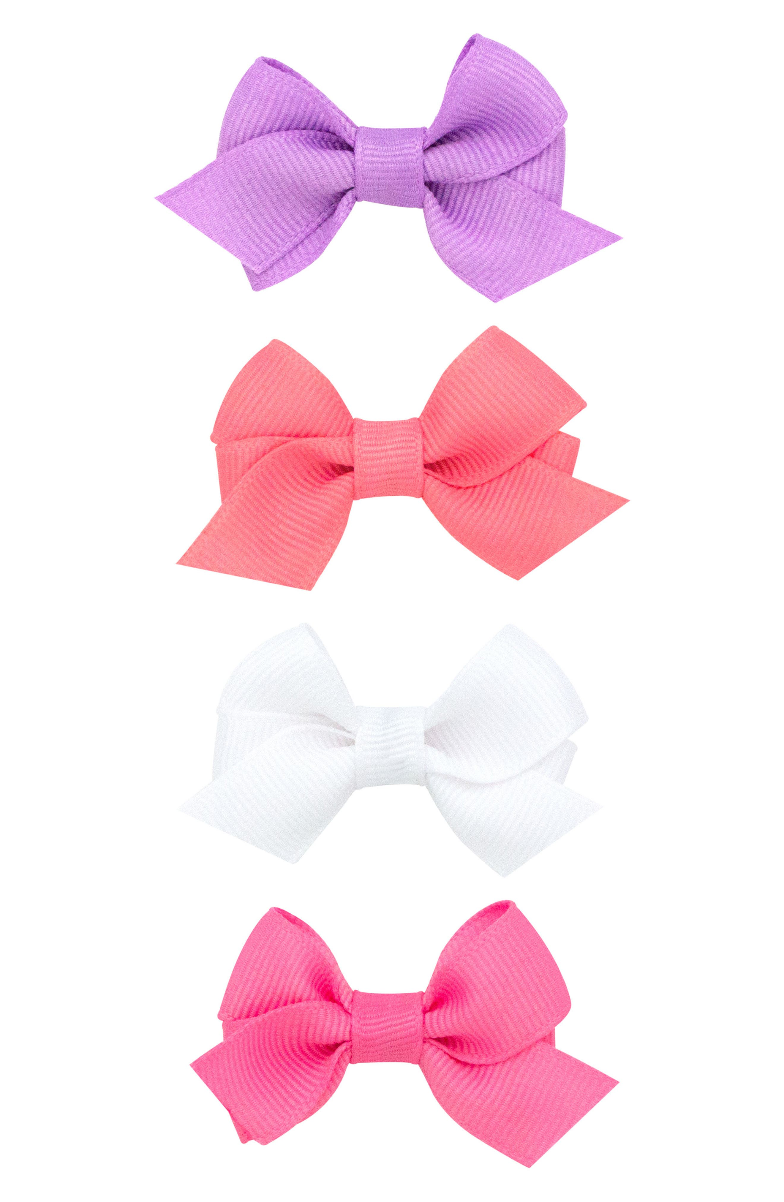 Bow Clips,                         Main,                         color, Coral