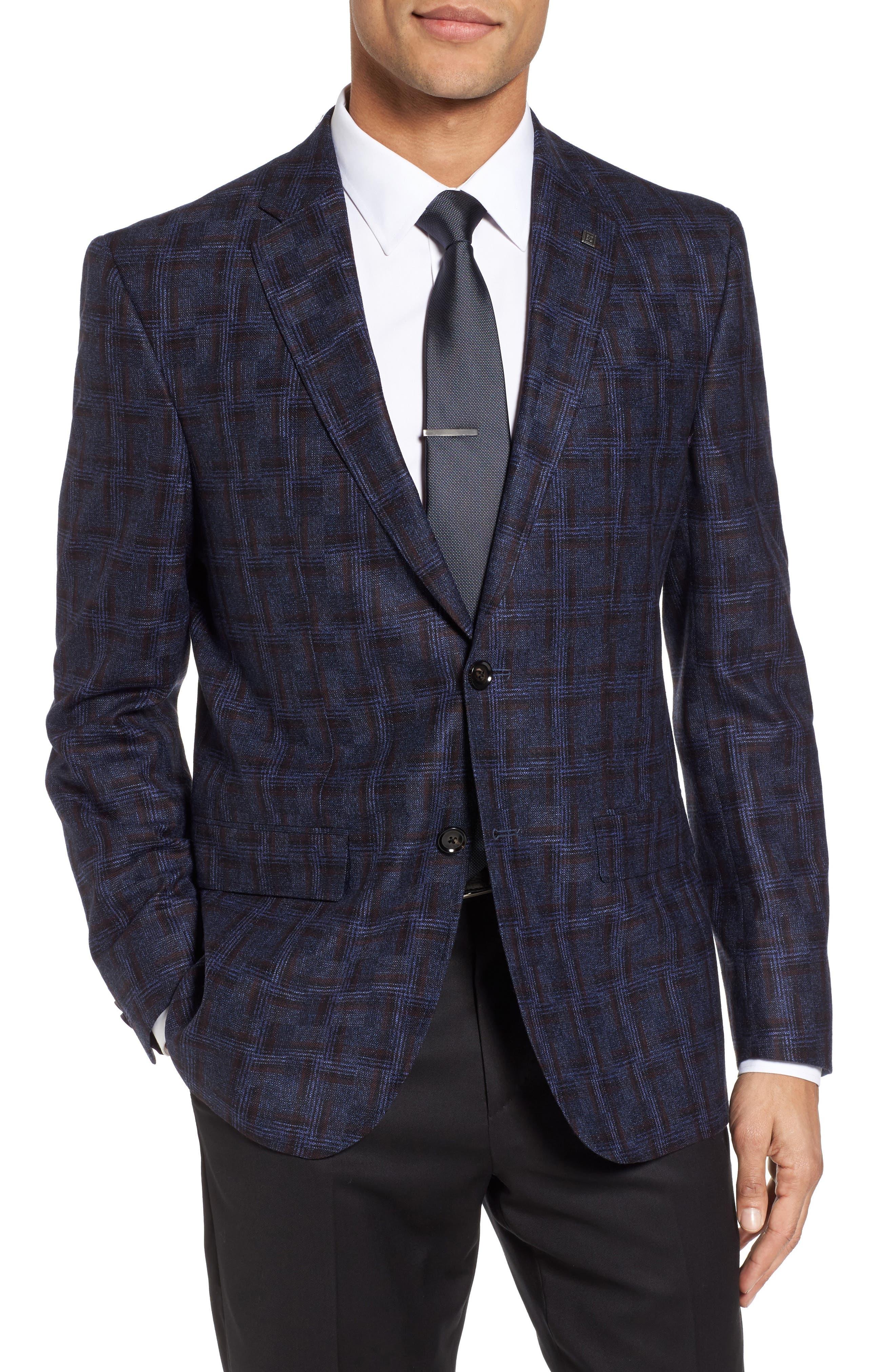 Jay Trim Fit Plaid Wool Sport Coat,                         Main,                         color, Blue