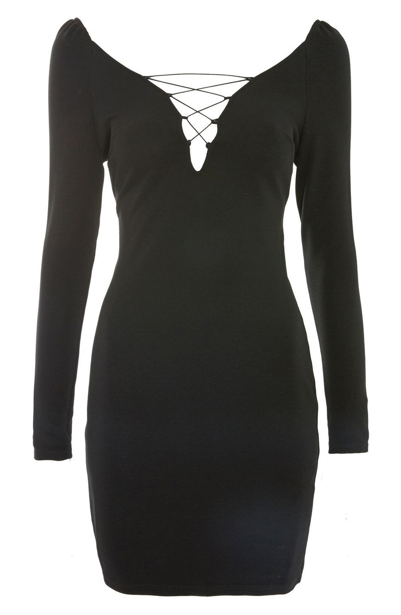 Lace-Up Boatneck Body-Con Dress,                             Alternate thumbnail 4, color,                             Black