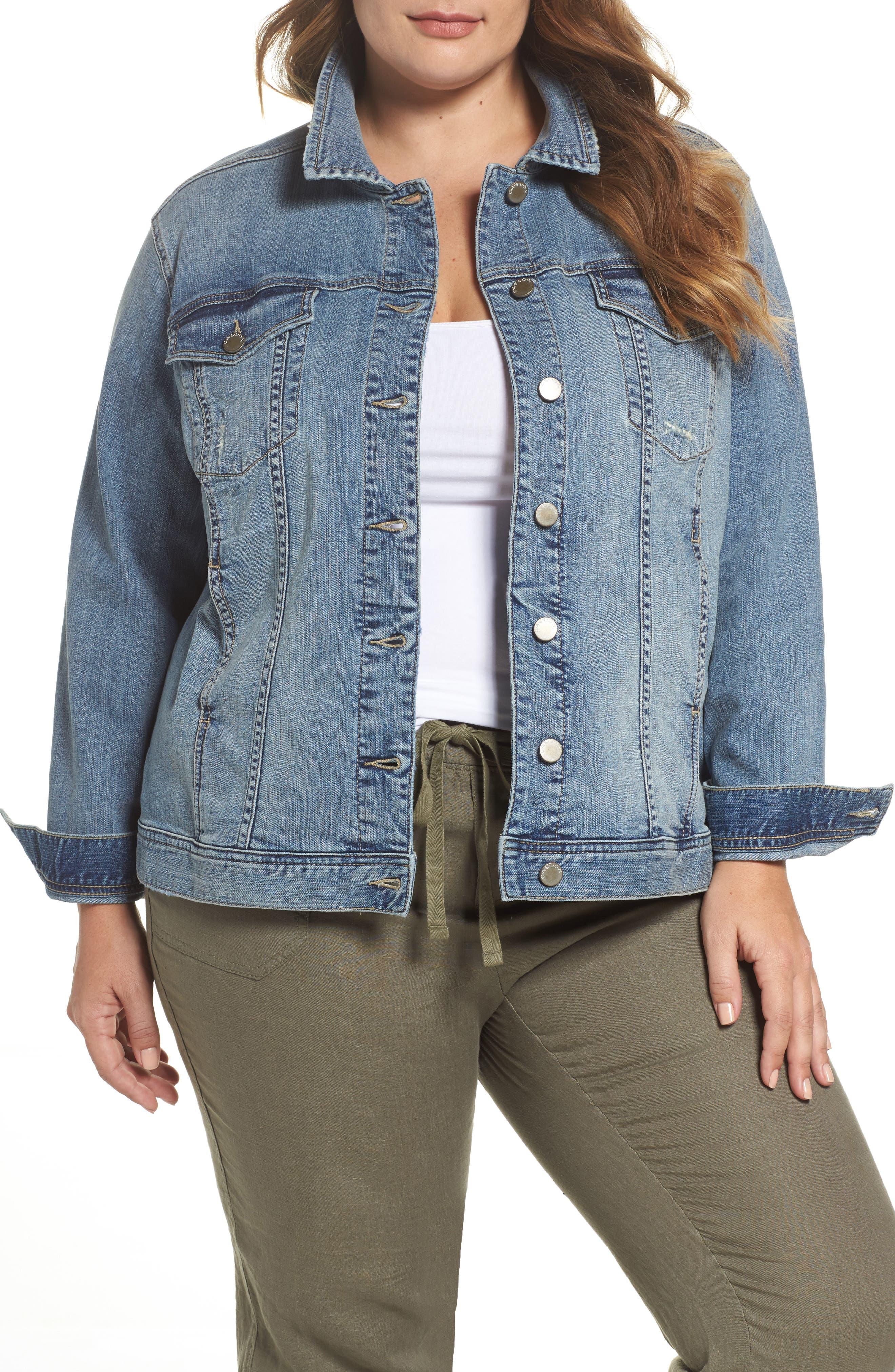 Caslon® Relaxed Fit Denim Jacket (Plus Size)