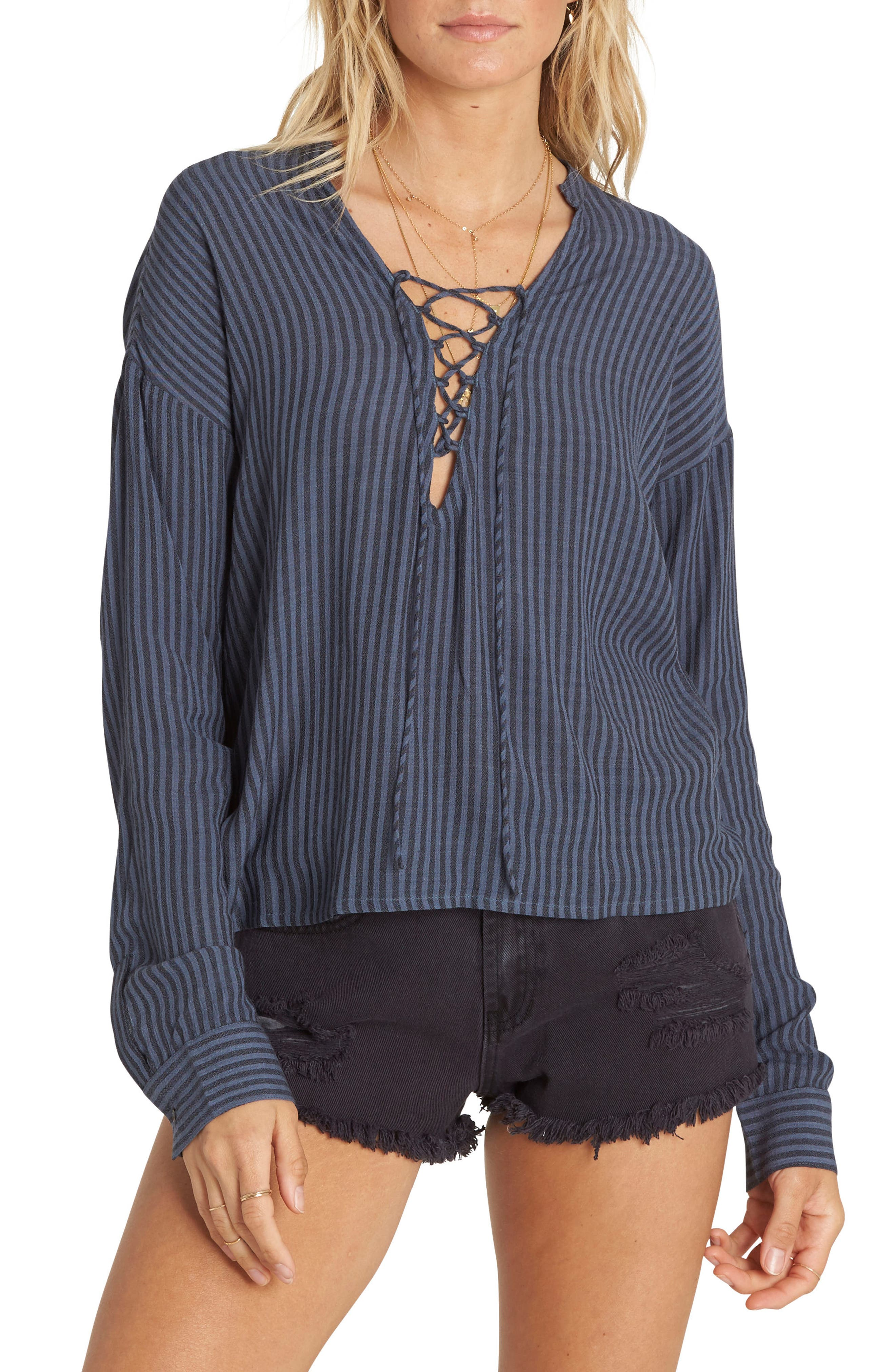 Finding Happiness Lace Up Top,                         Main,                         color, Deep Sea
