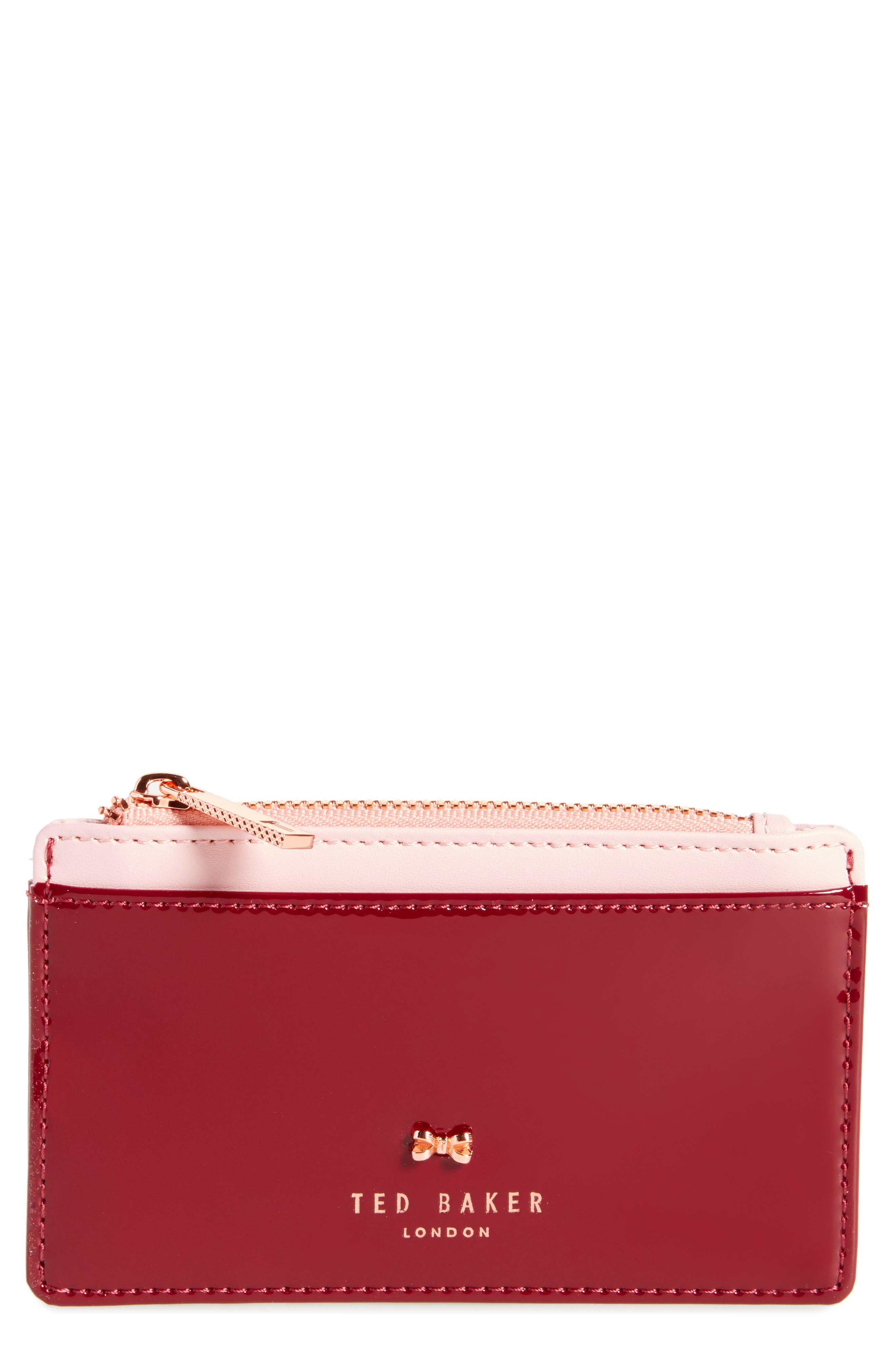 Ted Baker London Avens Top Zip Leather Card Case