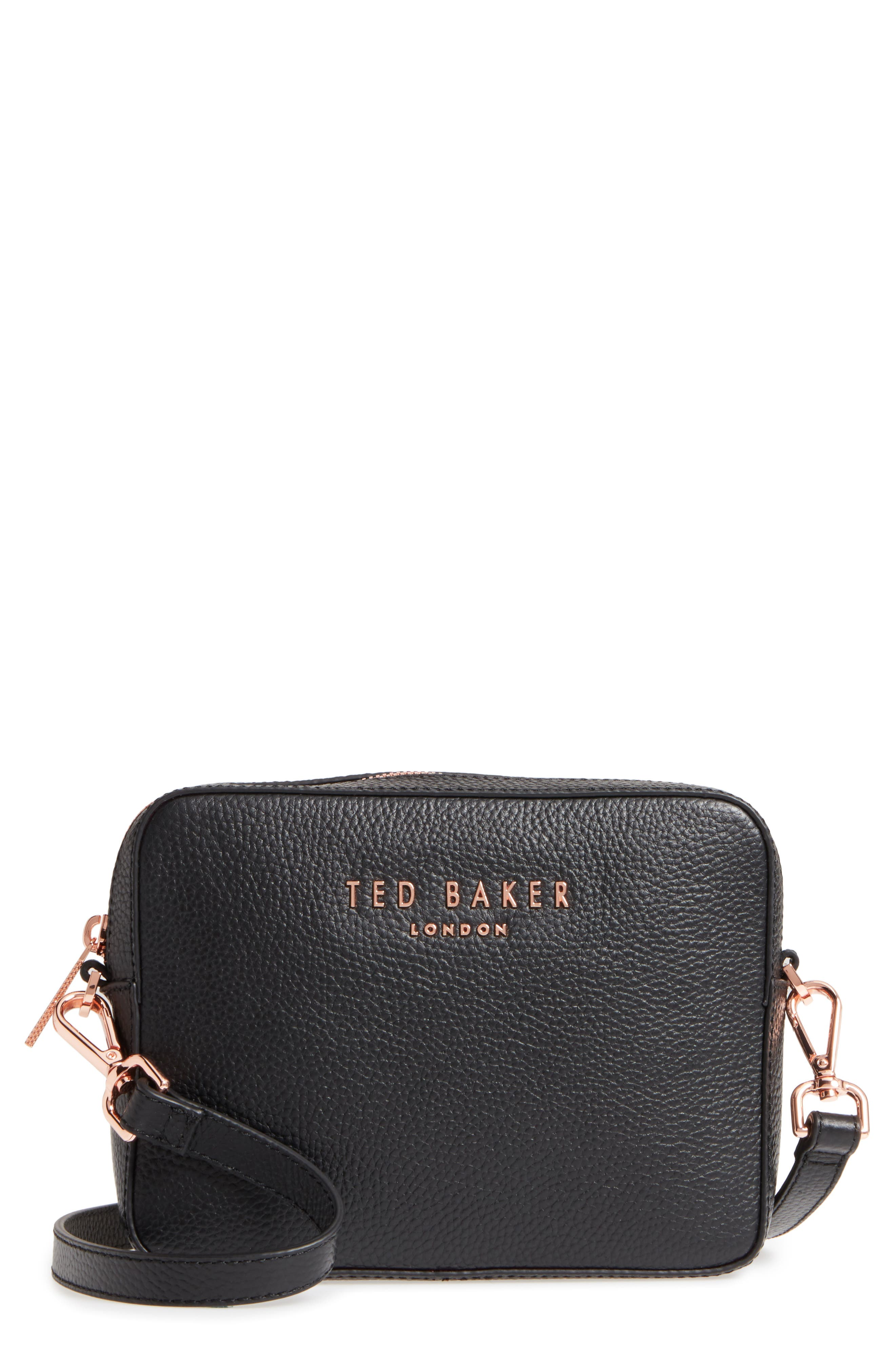 Susi Leather Crossbody Bag,                         Main,                         color, Black