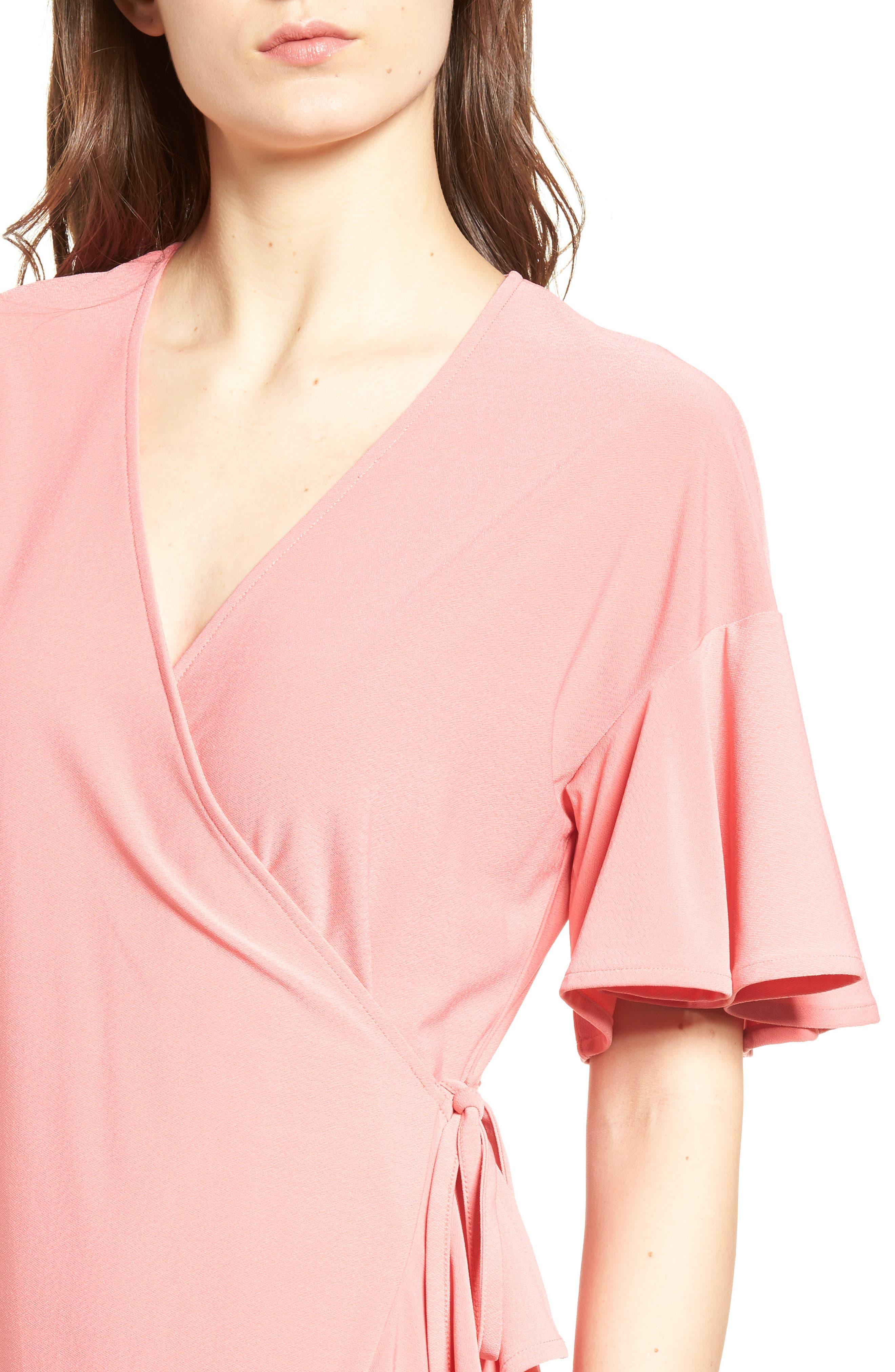 Flounce Sleeve Wrap Dress,                             Alternate thumbnail 4, color,                             Coral Rose Tea