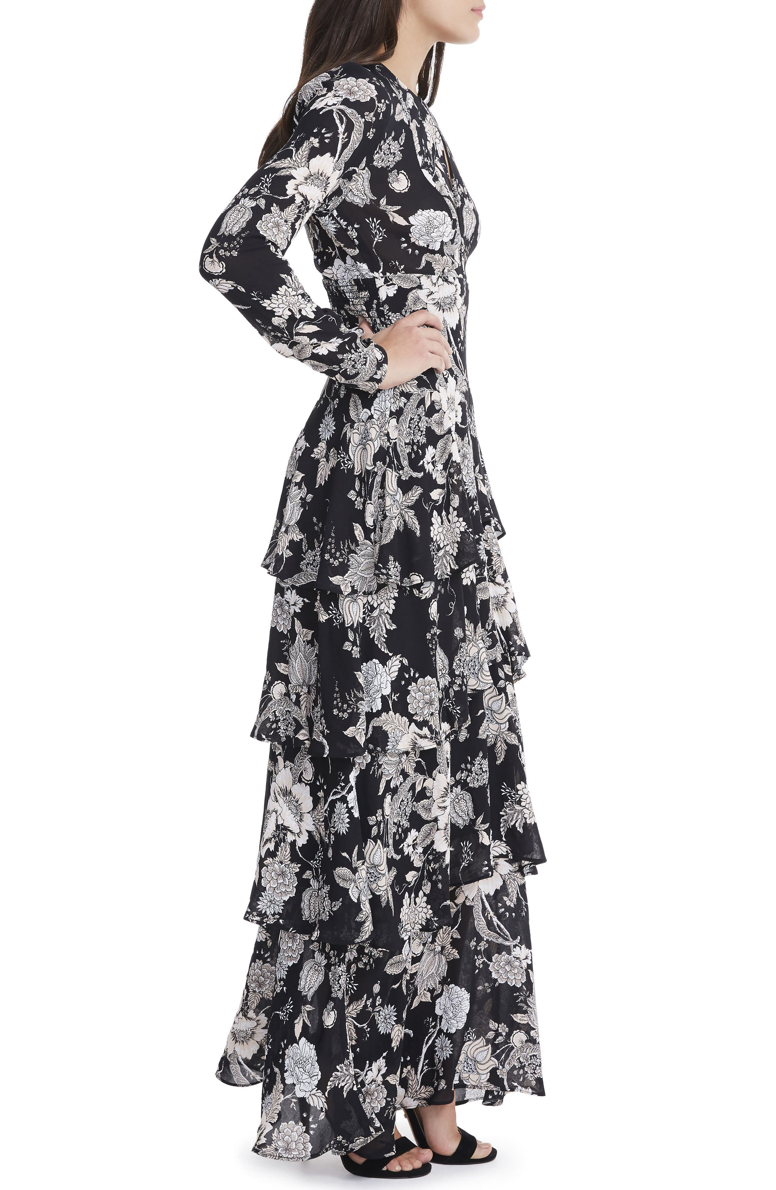Amabella Tiered Maxi Dress,                             Alternate thumbnail 3, color,                             Noir Bouquet