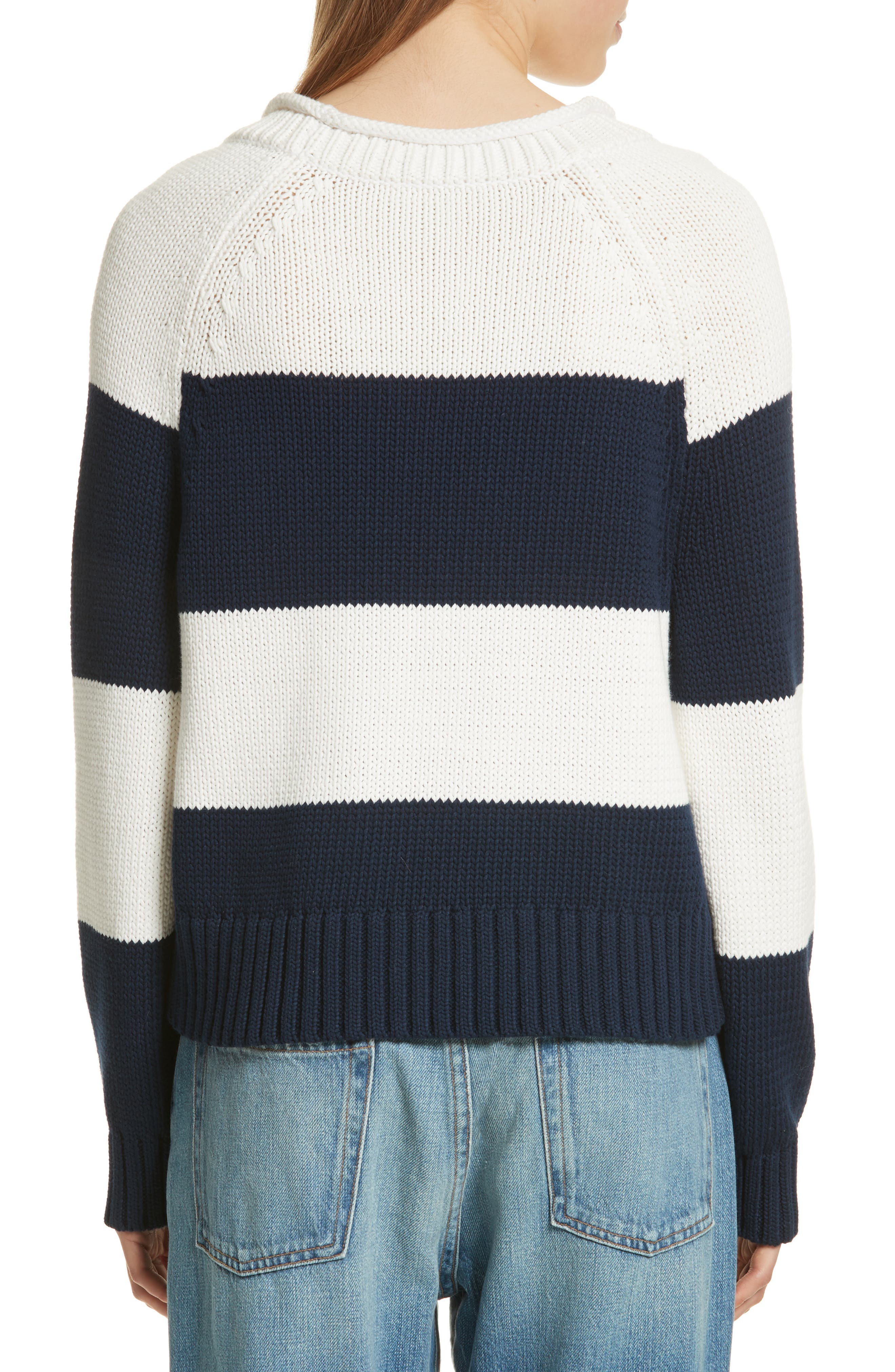 Stripe Cotton Blend Sweater,                             Alternate thumbnail 3, color,                             Off White/ Navy Stripe