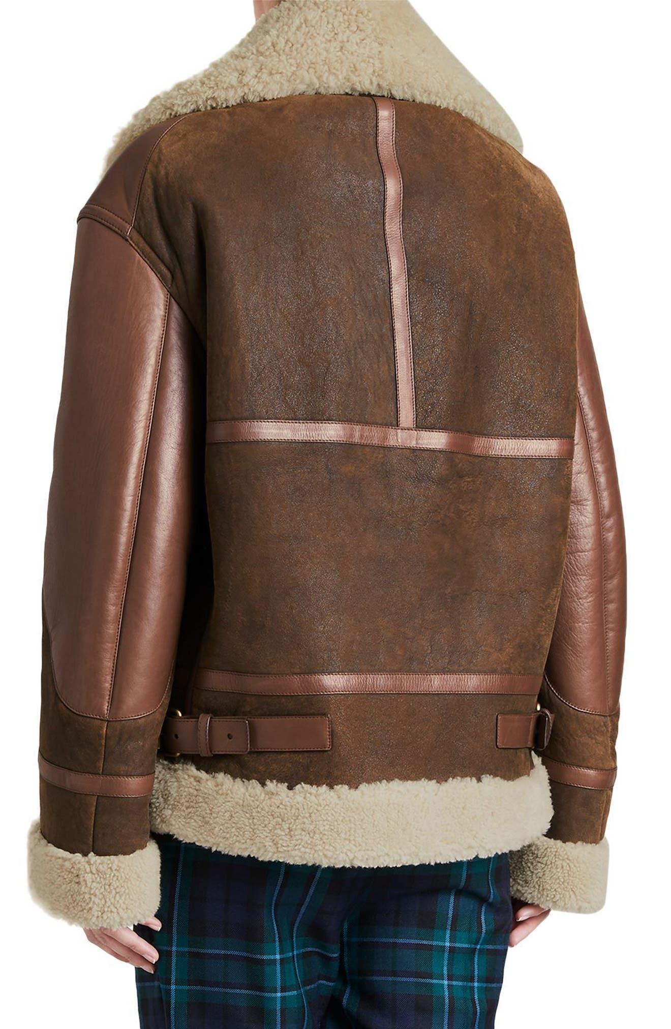 Blexley Genuine Shearling Coat,                             Alternate thumbnail 2, color,                             Dark Chocolate