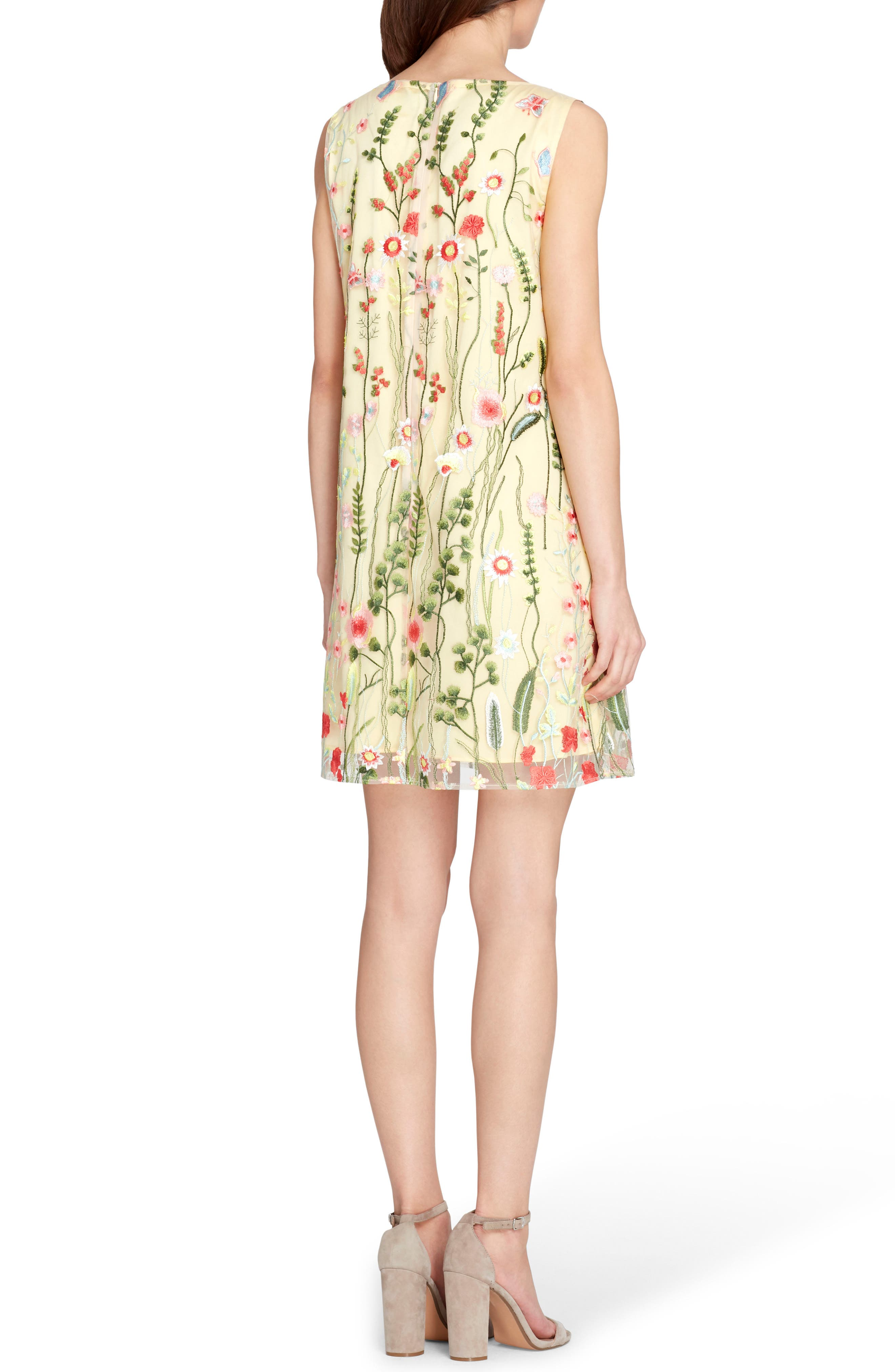 Embroidered Shift Dress,                             Alternate thumbnail 2, color,                             Gold/ Blush/ Green
