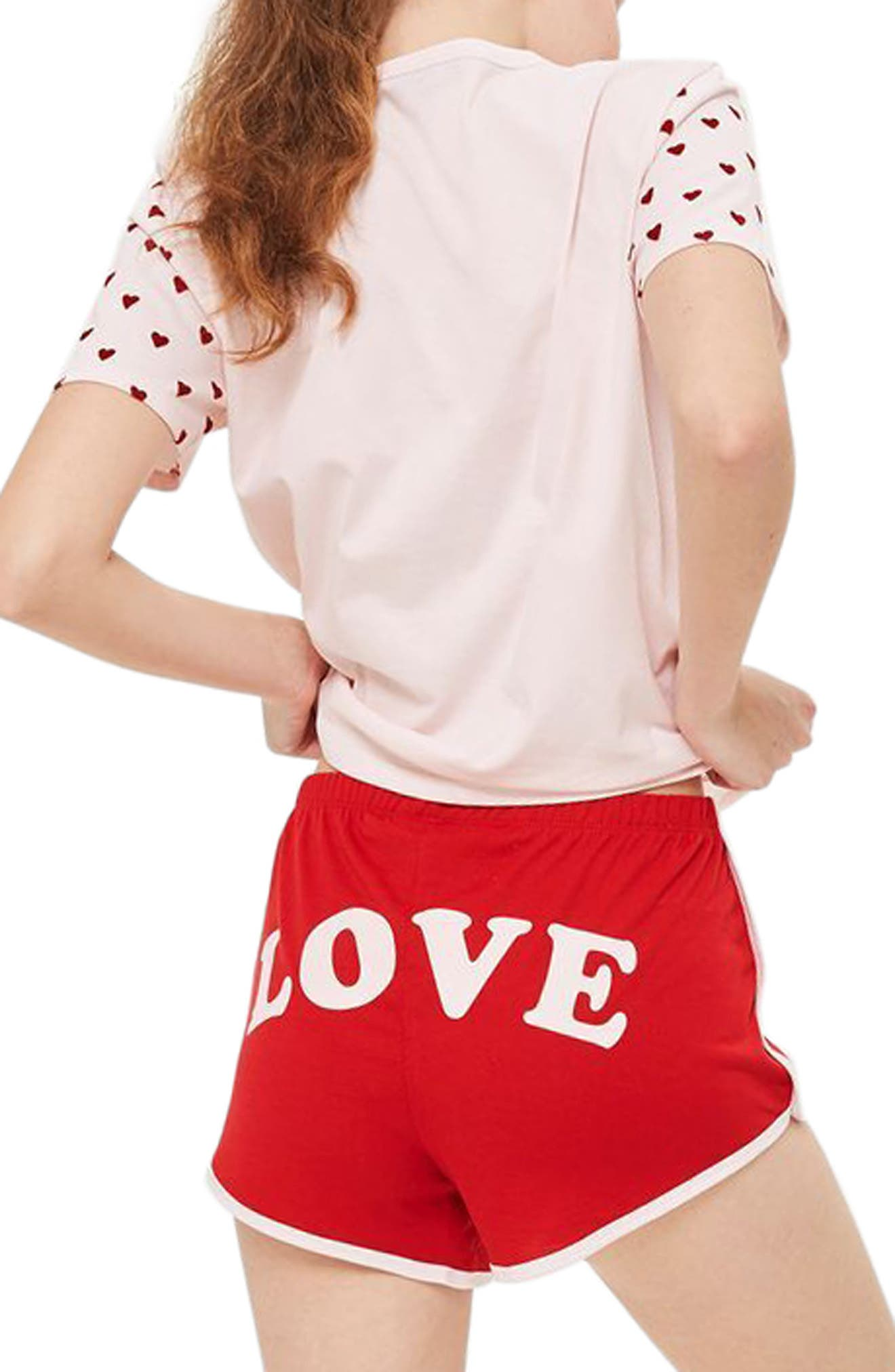 Flocked Heart Pajamas,                             Alternate thumbnail 2, color,                             Red Multi
