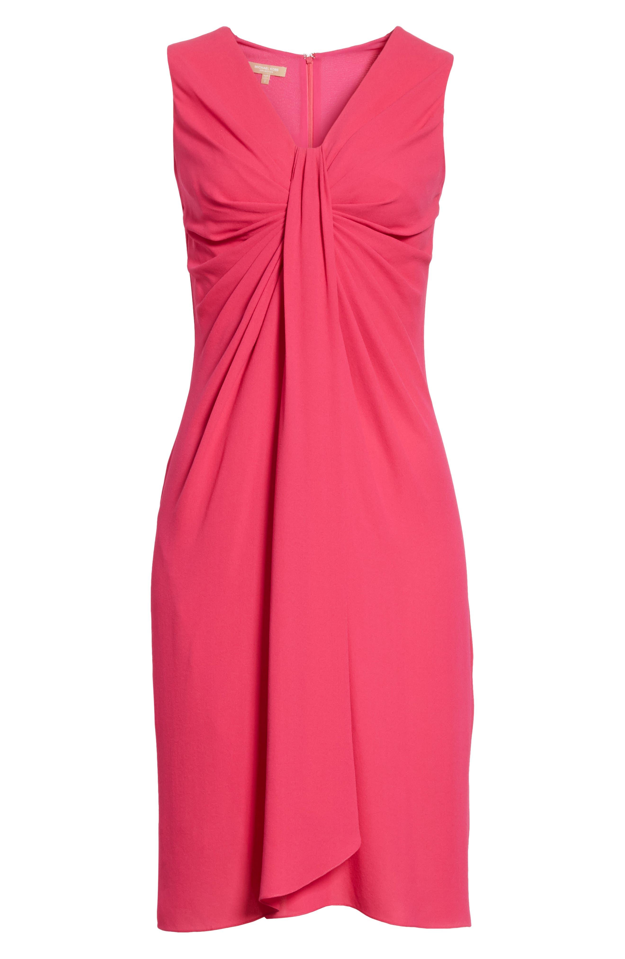 Gathered Silk Dress,                             Alternate thumbnail 7, color,                             Hibiscus