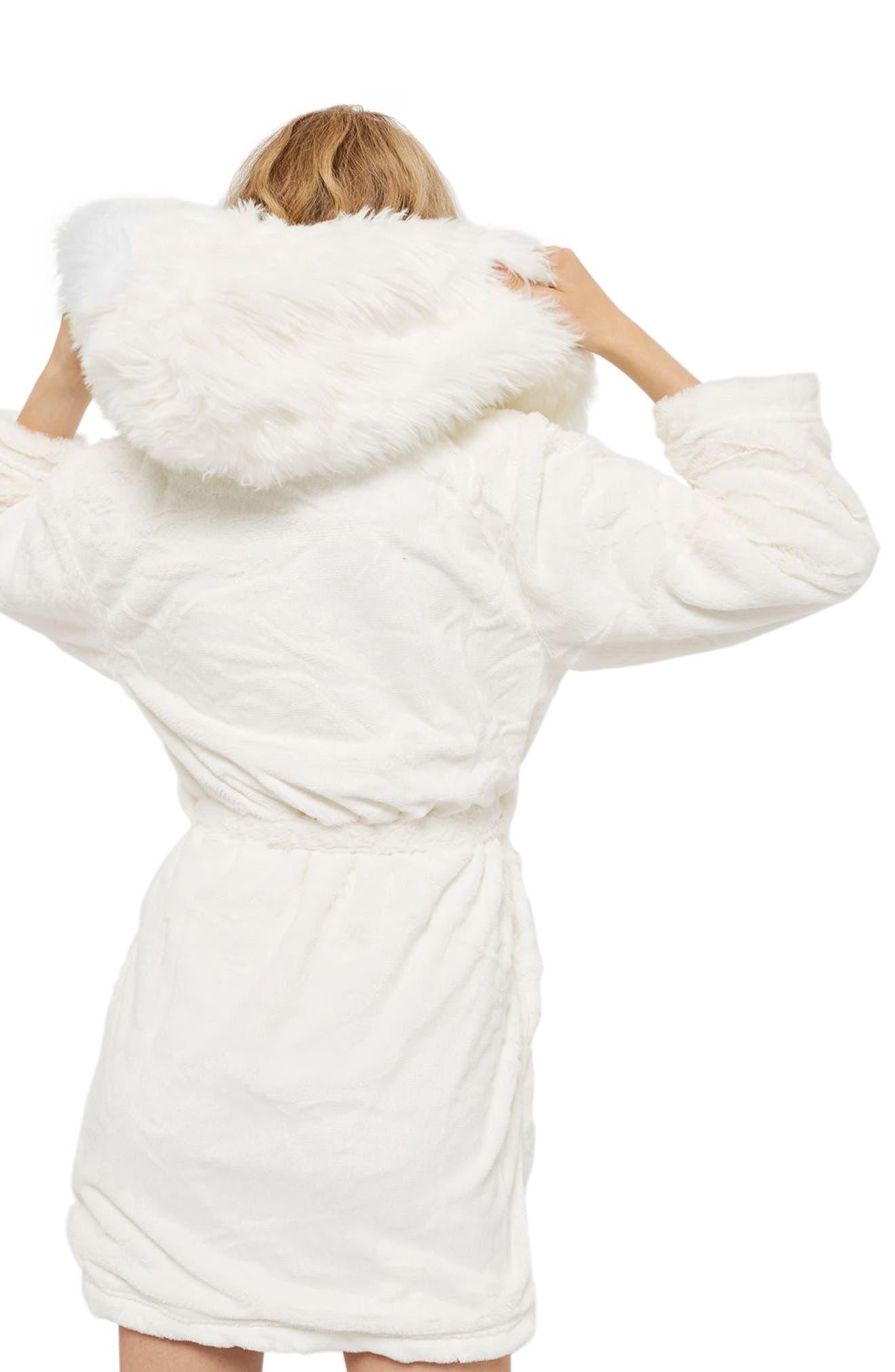 Faux Fur Hooded Short Robe,                             Alternate thumbnail 2, color,                             Cream