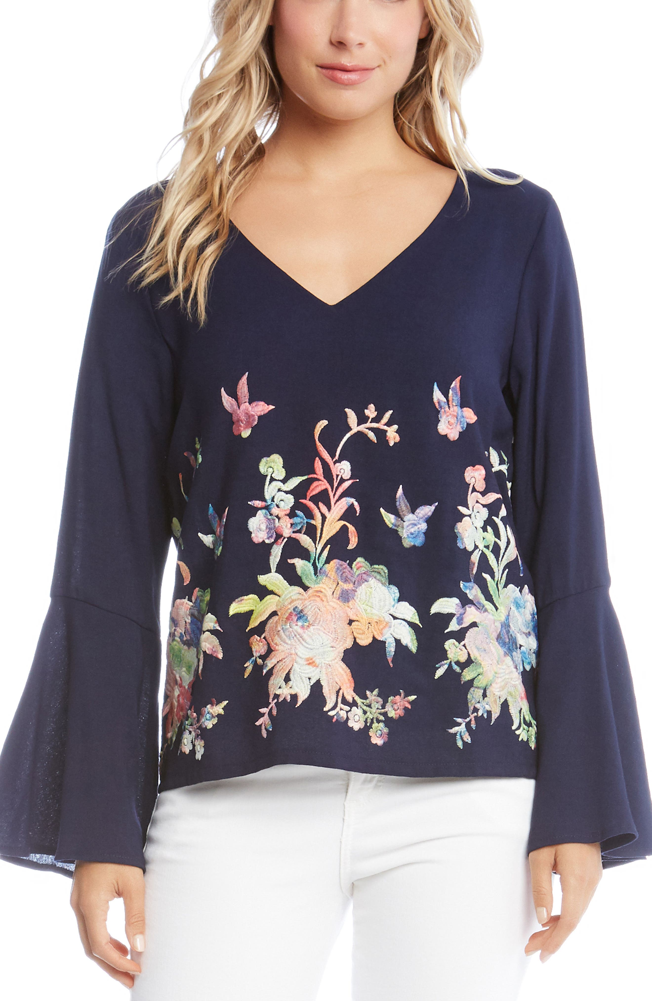 Embroidered Bell Sleeve Top,                         Main,                         color, Multi-Colored