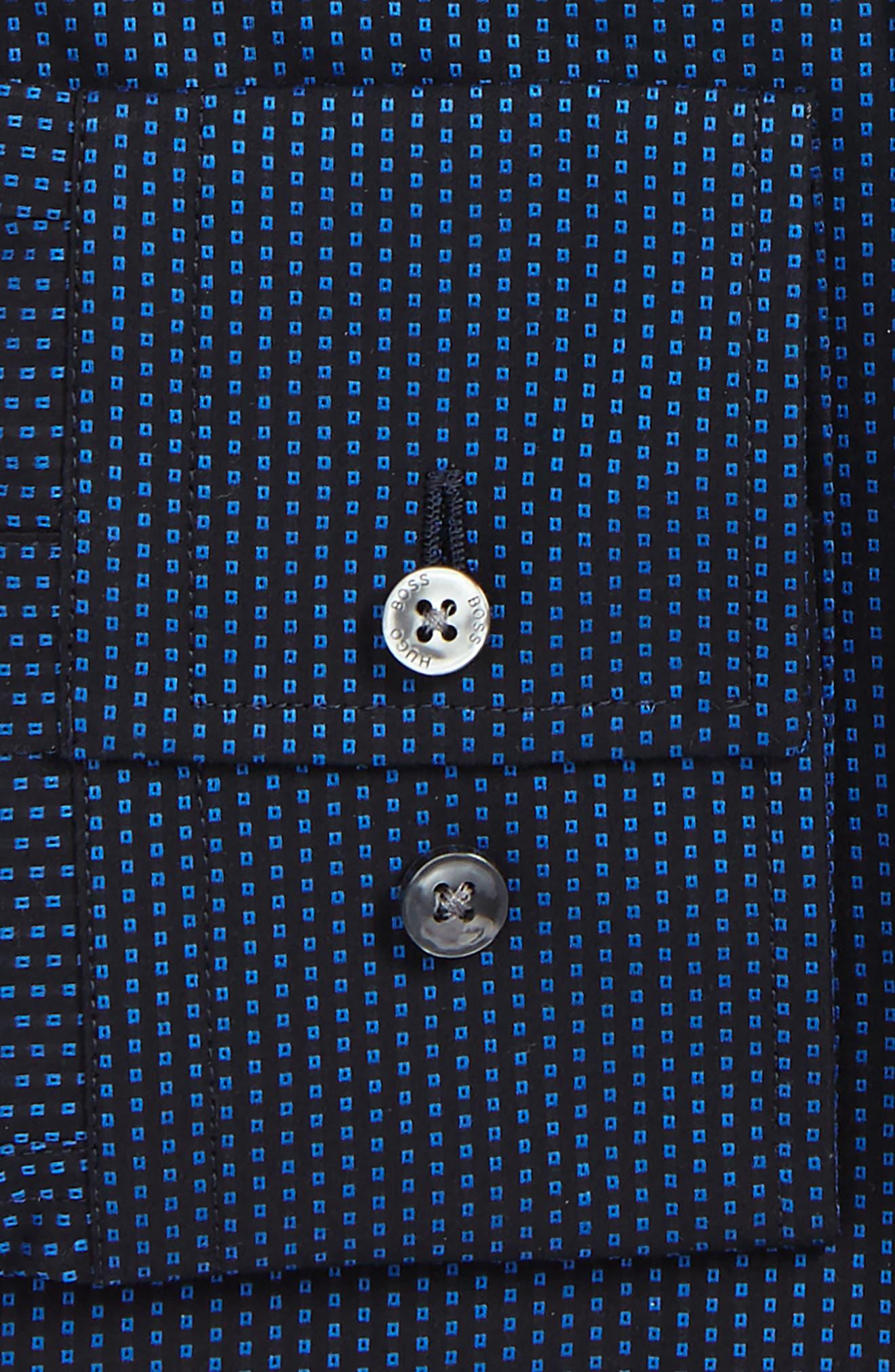 Jenno Slim Fit Print Dress Shirt,                             Alternate thumbnail 2, color,                             Navy