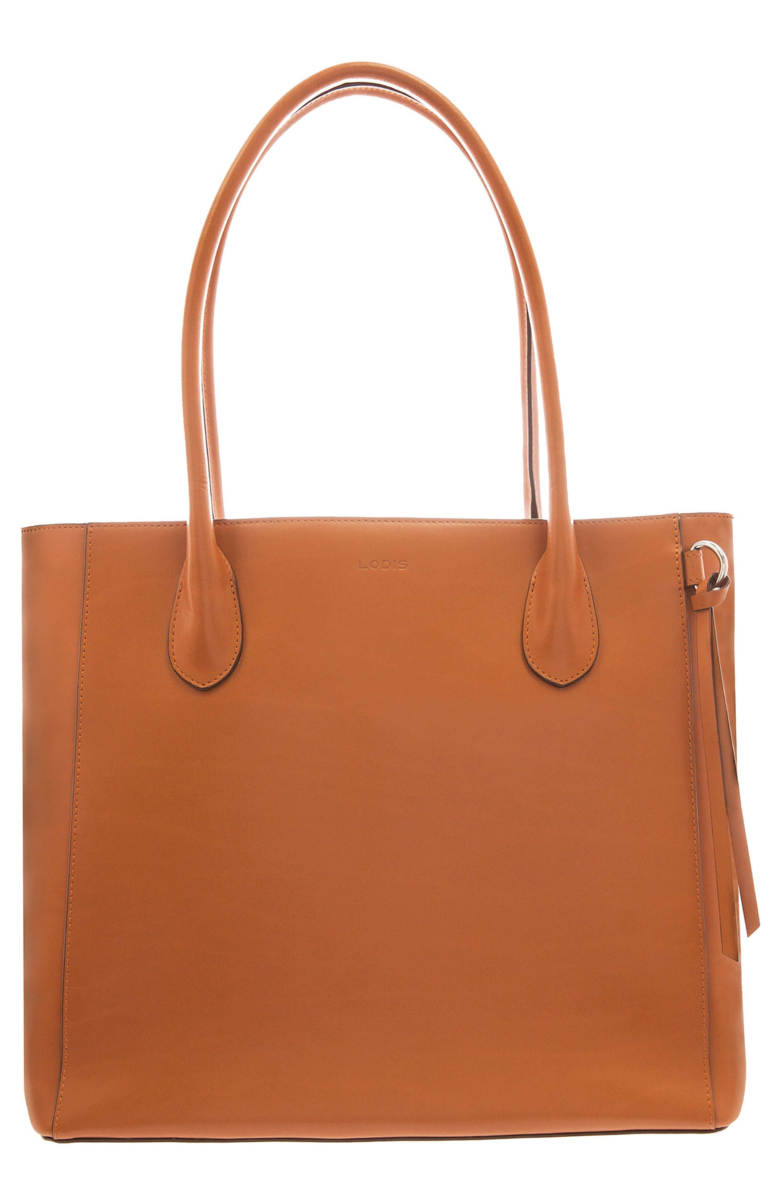 Cecily RFID Leather Tote,                         Main,                         color, Toffee