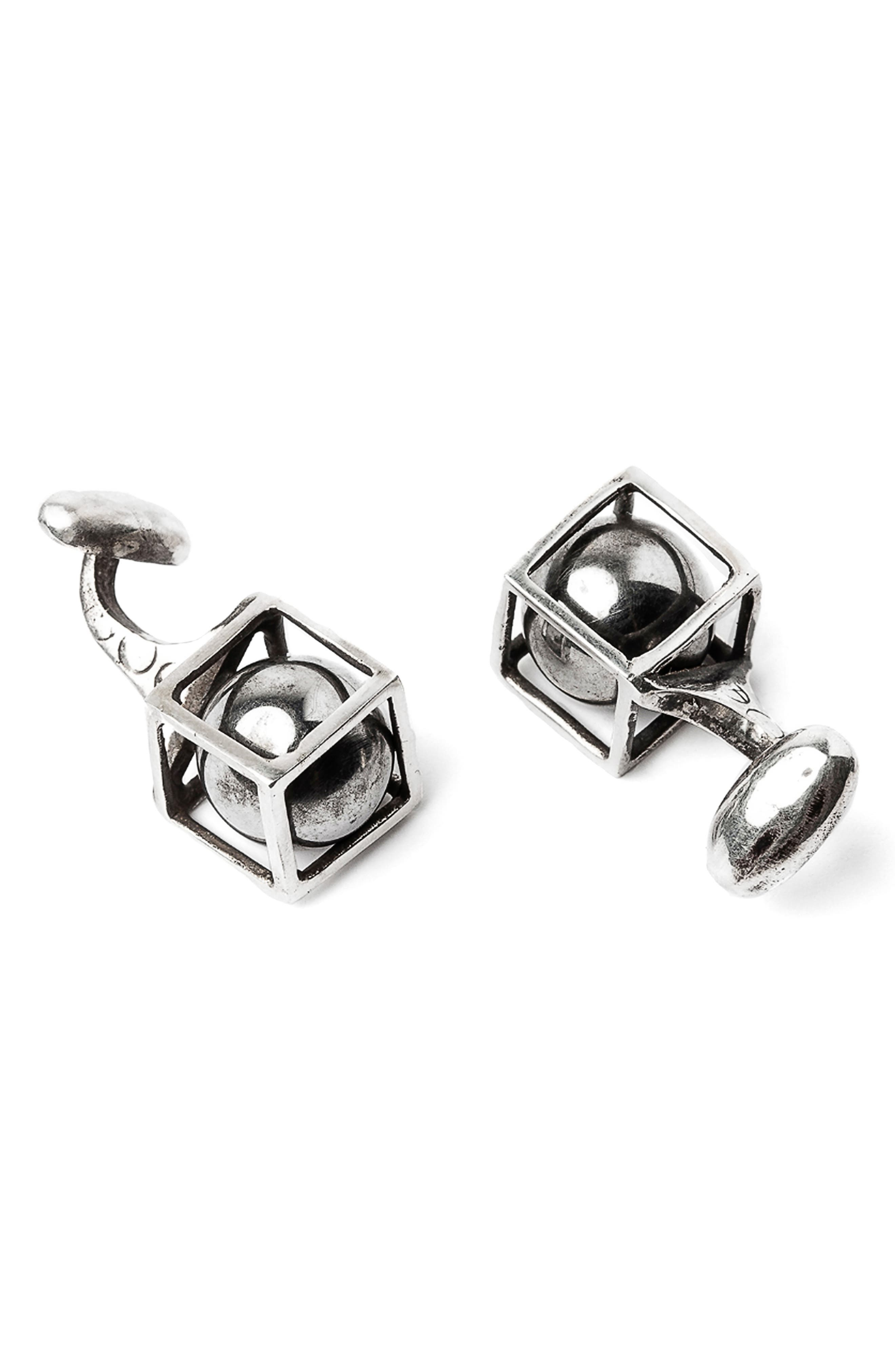 Sphere in Cube Cuff Links,                         Main,                         color, Silver