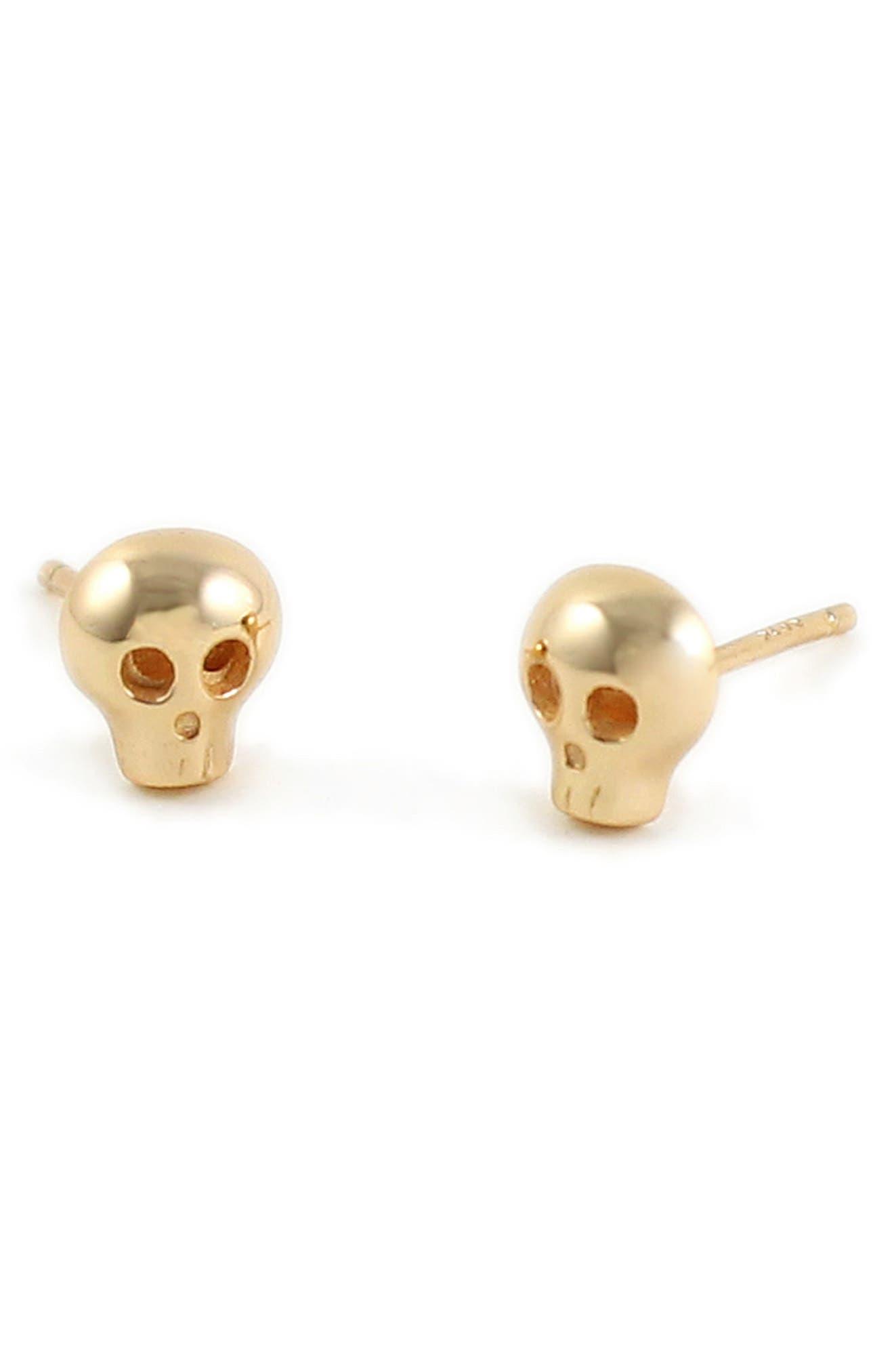 Skull Stud Earrings,                             Main thumbnail 1, color,                             Gold