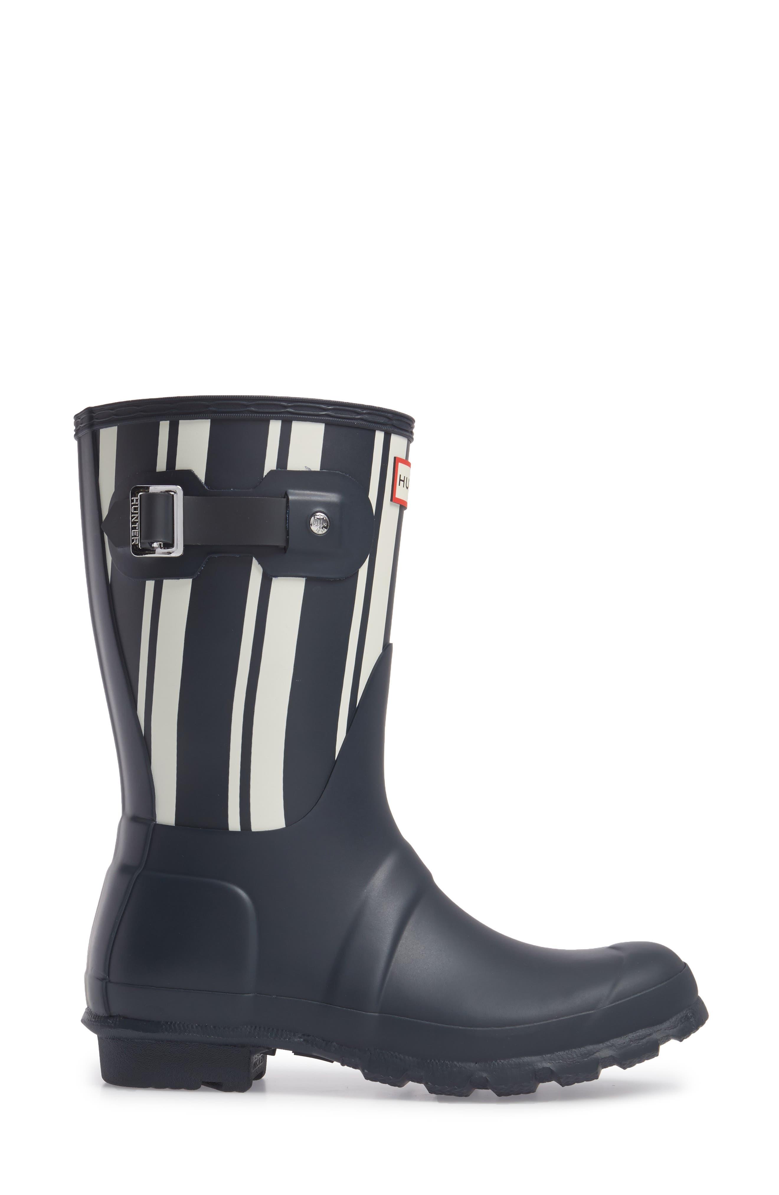 Original Garden Stripe Short Boot,                             Alternate thumbnail 3, color,                             Navy/ White