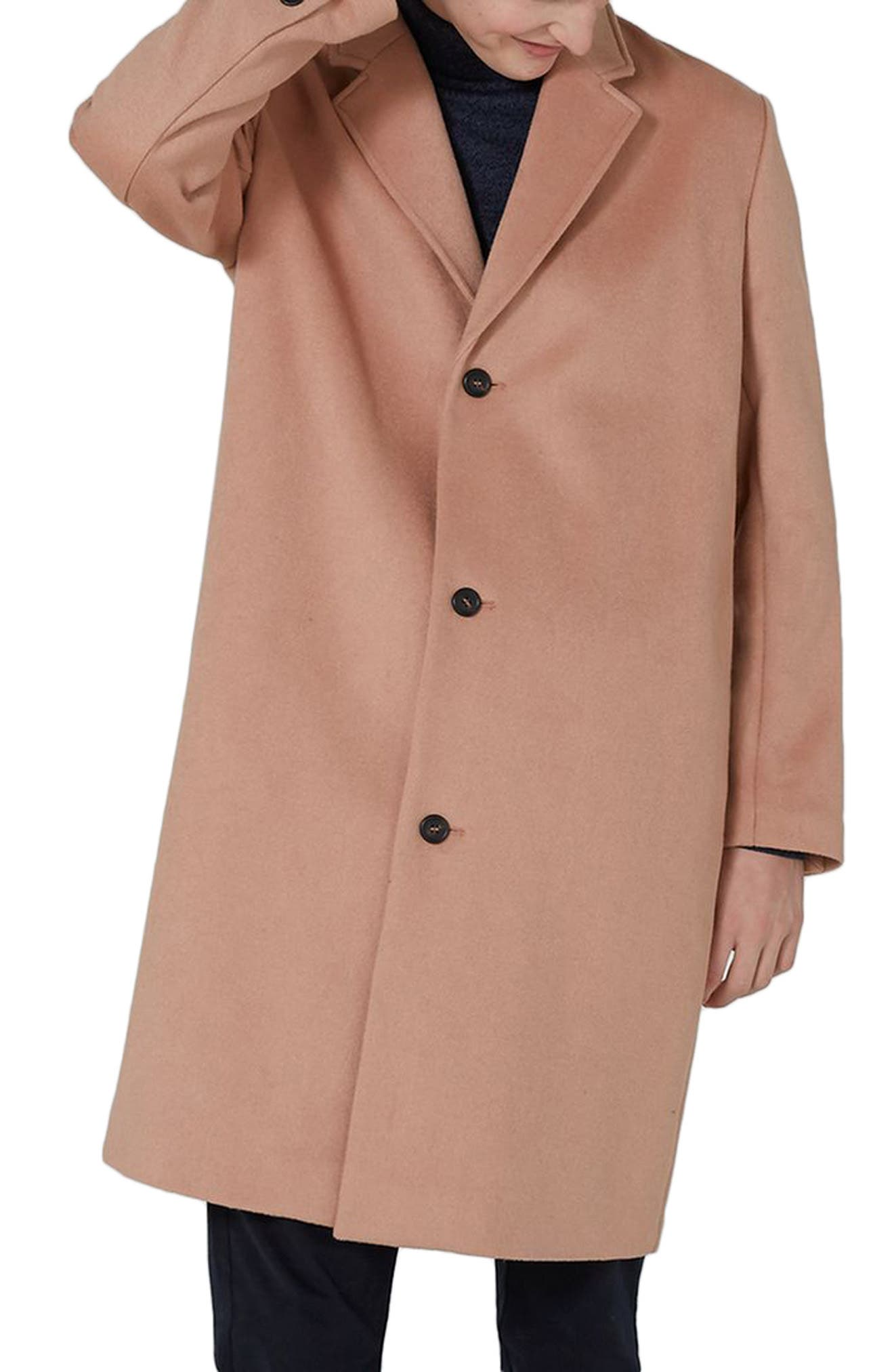 Oversized Single Breasted Coat,                         Main,                         color, Pink