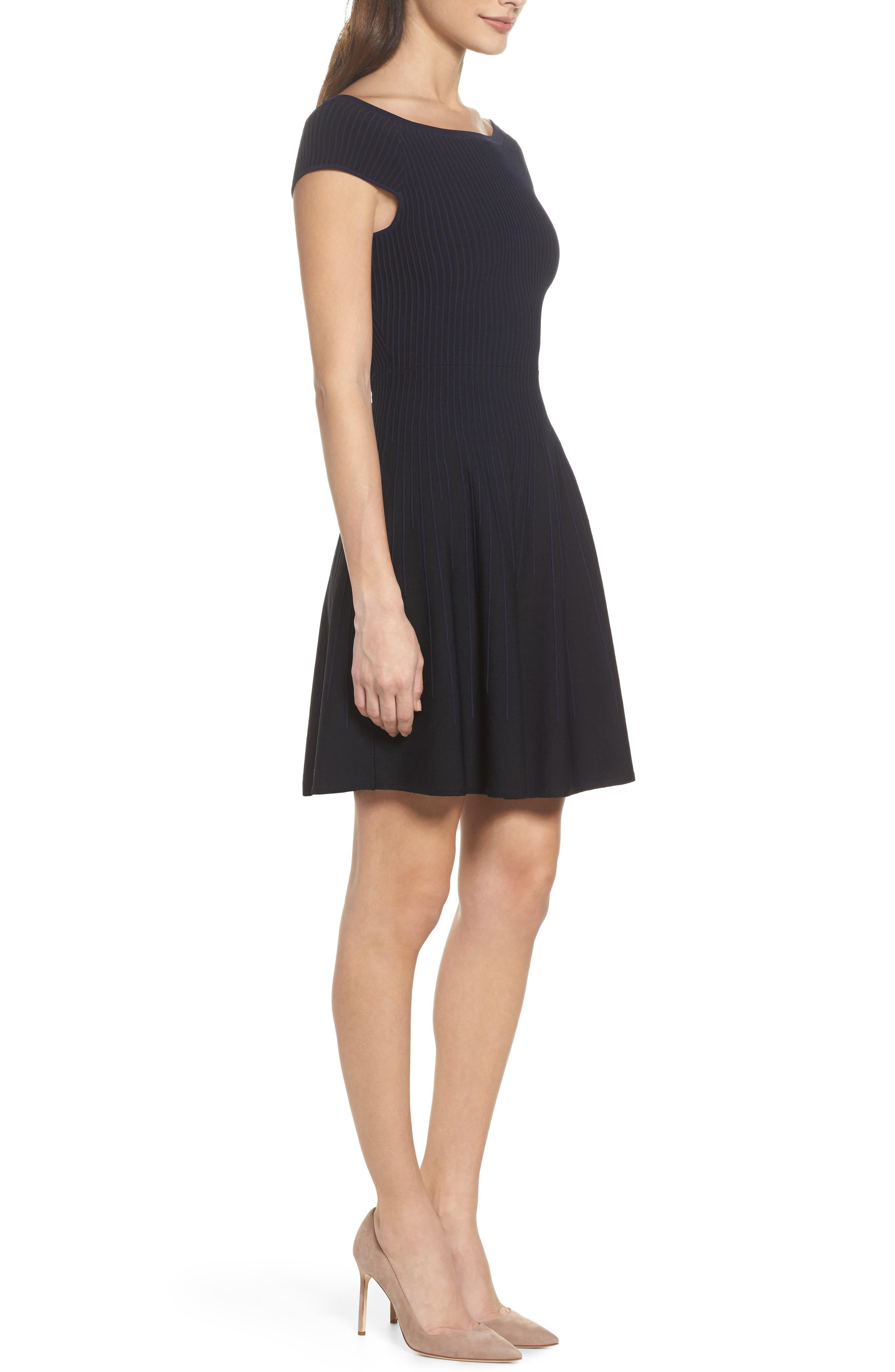 Olivia Off the Shoulder Dress,                             Alternate thumbnail 3, color,                             Black/ Nocturnal